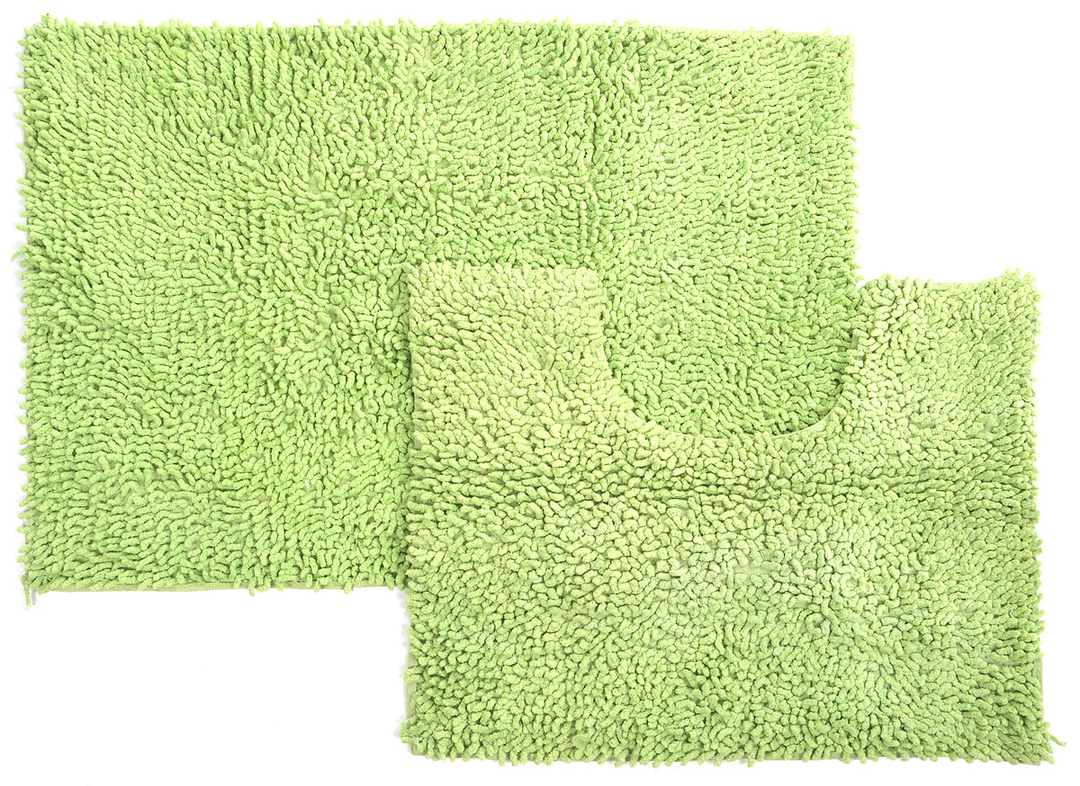 Набор ковриков для ванной Shee Sai International, цвет: салатовый, 60 х 90 см, 60 х 50 см, 2 шт531-401Набор Shee Sai International, выполненный из 100% хлопка, состоит из двух ковриков для ванной комнаты, один из которых имеет вырез под унитаз. Коврики мягкие и приятные на ощупь, отлично впитывают влагу и быстро сохнут. Высокая износостойкость ковриков и стойкость цвета позволит вам наслаждаться покупкой долгие годы. Можно стирать вручную.
