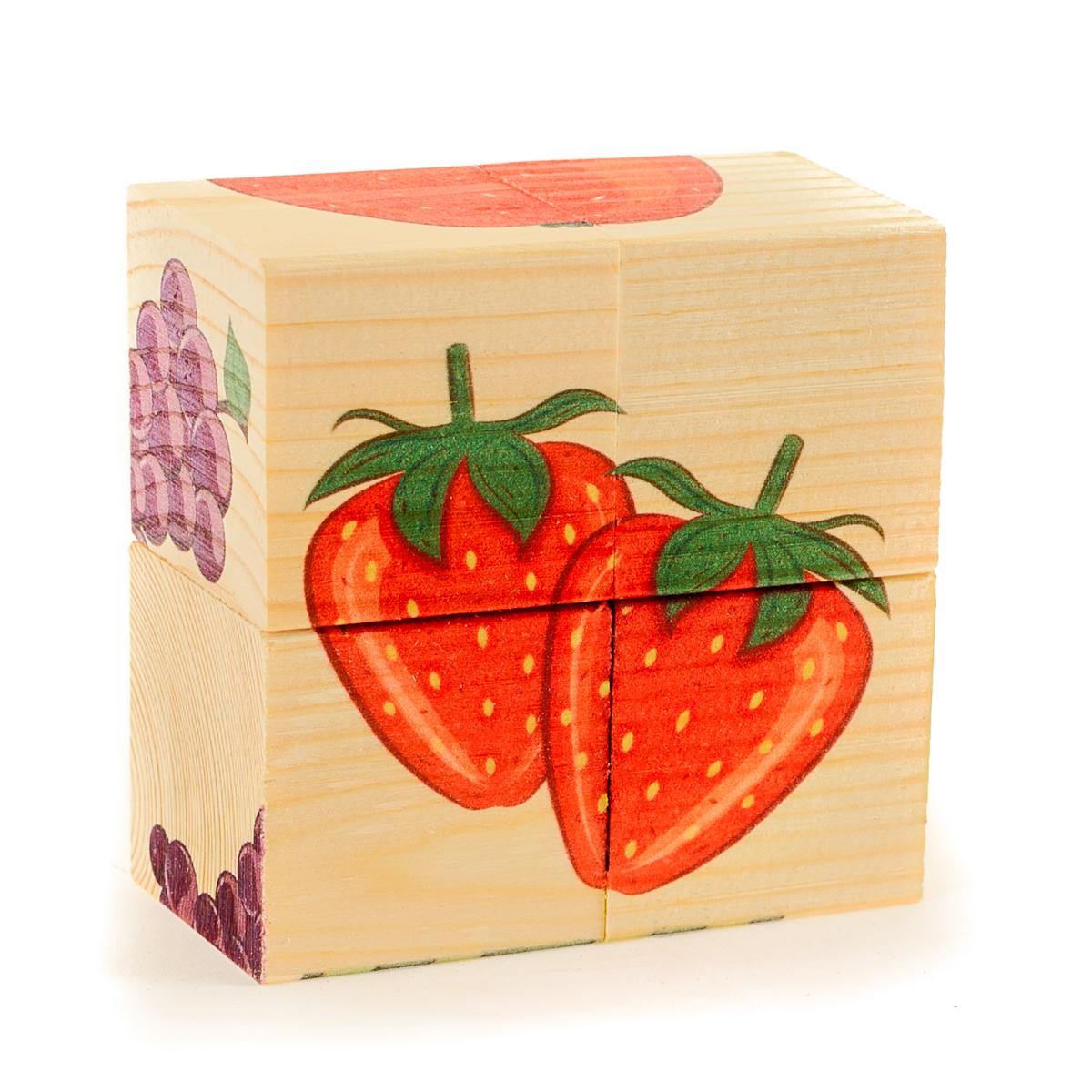 Развивающие деревянные игрушки Кубики Фрукты