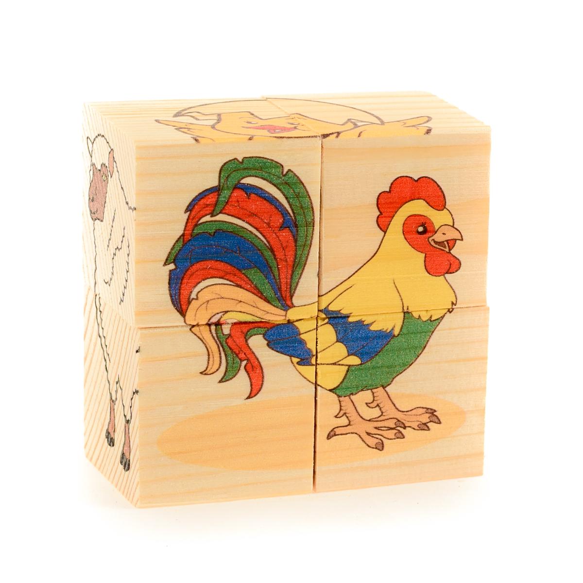 Развивающие деревянные игрушки Кубики Домашние животные