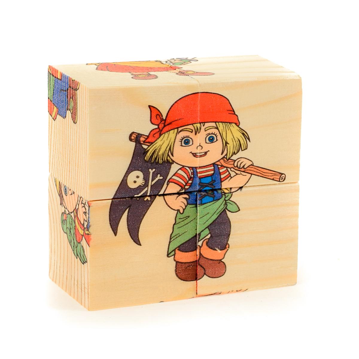 Развивающие деревянные игрушки Кубики Пираты