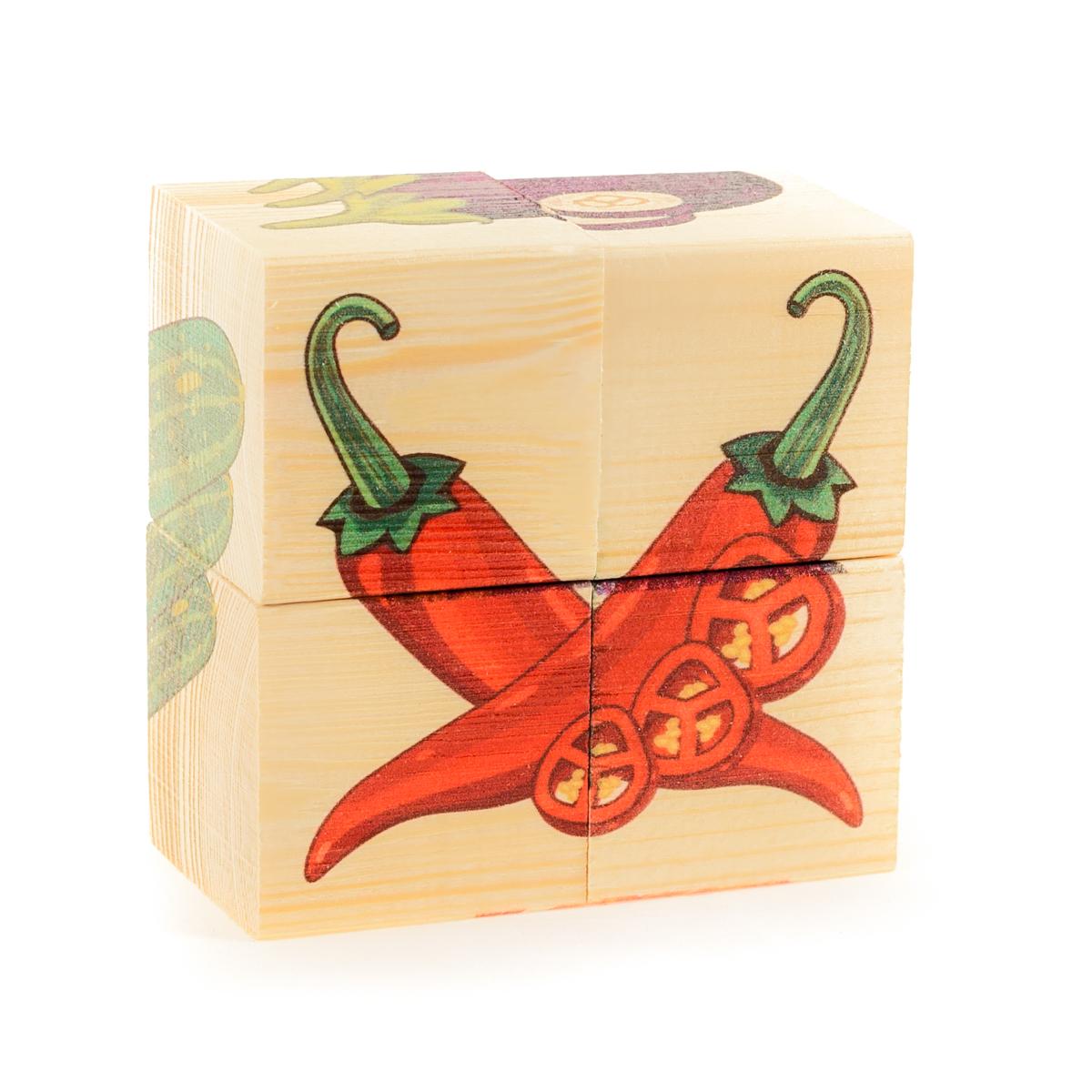 Развивающие деревянные игрушки Кубики Овощи