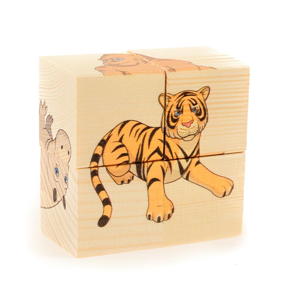 Развивающие деревянные игрушки Кубики Дикие животные