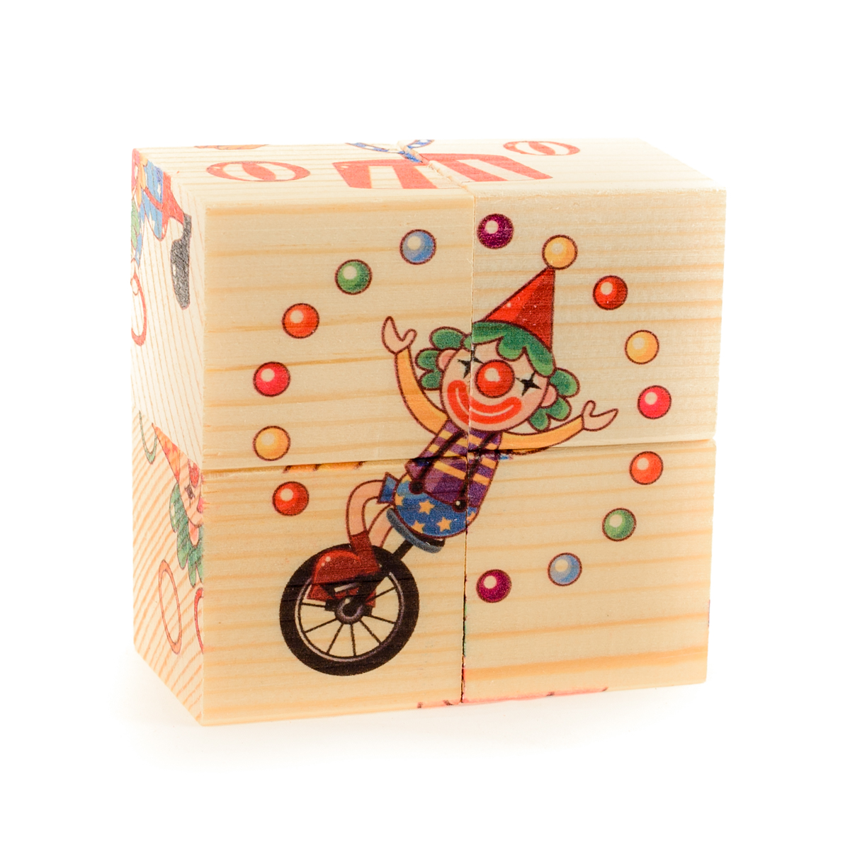 Развивающие деревянные игрушки Кубики Цирк