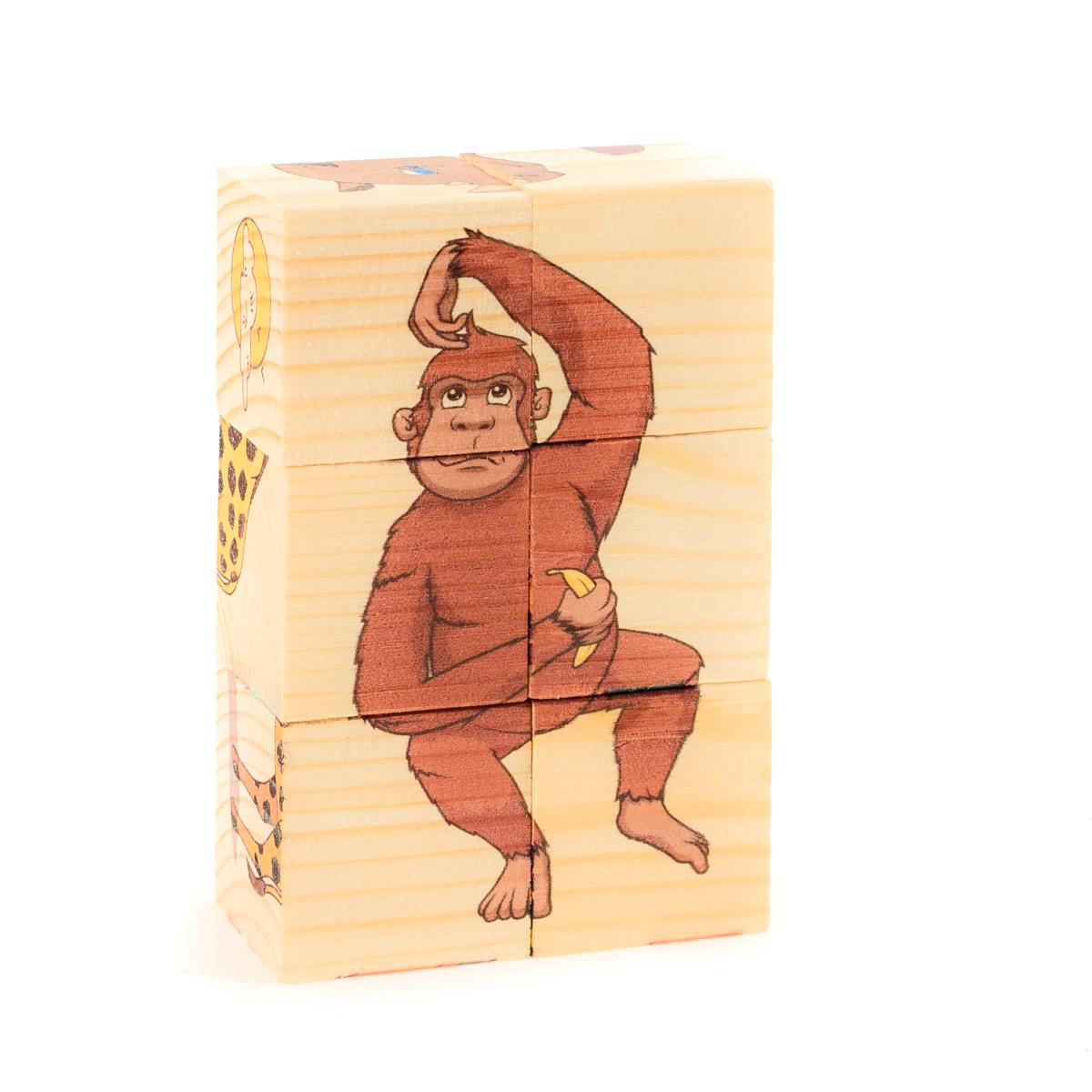 Развивающие деревянные игрушки Кубики Животные