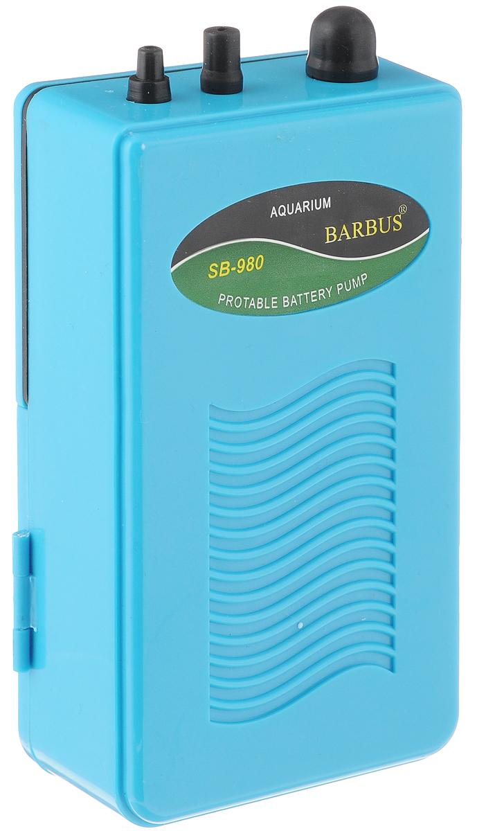 Компрессор воздушный аквариумный Barbus SB-980, 2 л/мин, 2 батарейки х 1,5 ВтAIR 012Воздушный аквариумный компрессор Barbus SB-980 выполнен из прочного пластика для снижения шума и вибрации. Продуманная компактная конструкция гарантирует долгий срок службы и получение оптимального результата при экономичности энергопотребления. Работает от двух элементов питания (батареи в комплект не входят).Мощность: 2 батарейки х 1,5 Вт.Напряжение: 220-240В.Частота: 50/60 Гц.Производительность: 2 л/мин. Уважаемые клиенты!Обращаем ваше внимание навозможныеизмененияв цветенекоторых деталейтовара. Поставка осуществляется в зависимости от наличия на складе.