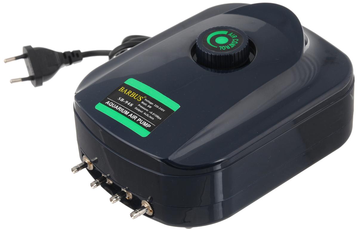 Компрессор воздушный Barbus SB-948, с регулятором, 4 канала, 3,5 л/мин, 8 Вт0120710Воздушный компрессор Barbus SB-948 изготовлен из высококачественных материалов. Новейшая система сжатия воздуха, многоуровневая демпфирующая система для снижения шума и вибрации. Изделие оснащено регулятором скорости потока воздуха.Мощность:8 Вт.Напряжение: 220-240В.Частота: 50/60 Гц.Производительность: 4 х 3,5 л/мин.Рекомендуемый объем аквариума: 4 х 50 - 250 л. Уважаемые клиенты!Обращаем ваше внимание навозможныеизмененияв цветенекоторых деталейтовара. Поставка осуществляется в зависимости от наличия на складе.