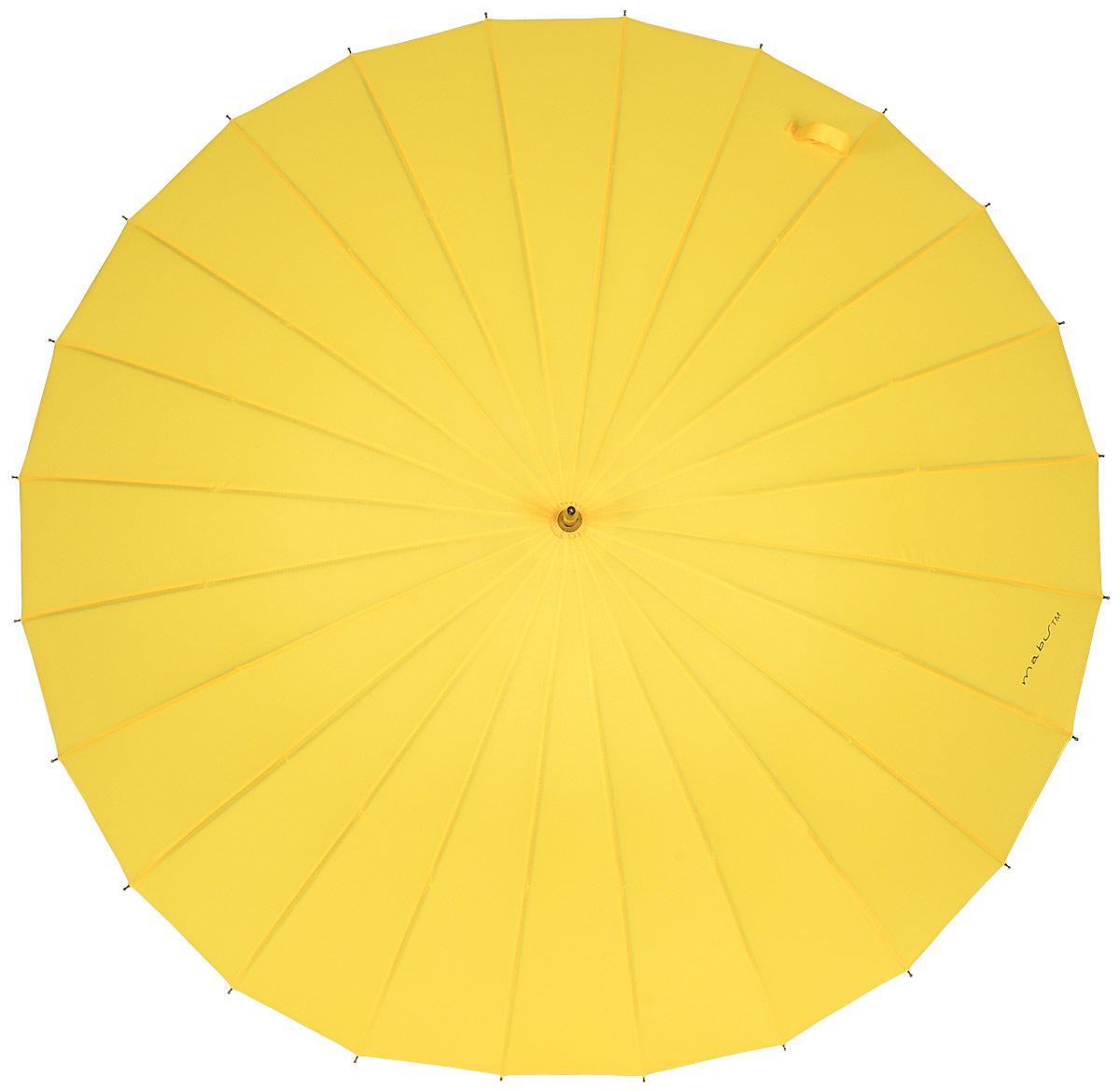Зонт женский Kawaii Factory Mabu, цвет: желтый. KW042-000033П250070003-9Элегантный зонт от Kawaii Factory Mabu даже в ненастную погоду позволит вам оставаться стильной и элегантной. Зонт состоит из стержня и 24 спиц, изготовленных из металла. Купол изготовлен из полиэстера, который надежно защитит вас от дождя. Зонт дополнен удобной ручкой, которая выполнена в виде крючка. Также зонт имеет пластиковый наконечник, который устраняет попадание воды на стержень и уберегает зонт от повреждений. Изделие имеет механический механизм сложения. Зонт закрывается хлястиком на кнопку.