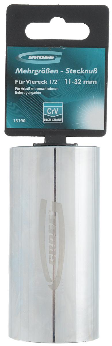 Головка торцевая Gross, многоразмерная, 11-32 мм80621Торцевая головка торговой марки Gross предназначена для проведения крепежных работ болтовых соединений различной формы размером от 11 до 32 мм. Для использования головки необходим переходник с квадратом 1/2 дюйма. Изготовлена головка из высококачественной хромованадиевой стали (CrV) и твердостью 48 HRC. Для защиты от ржавчины головка покрыта хромом и отполирована.Порадуйте себя удобным и прочным инструментом.Длина головки: 88 мм.Толщина: 43 мм.