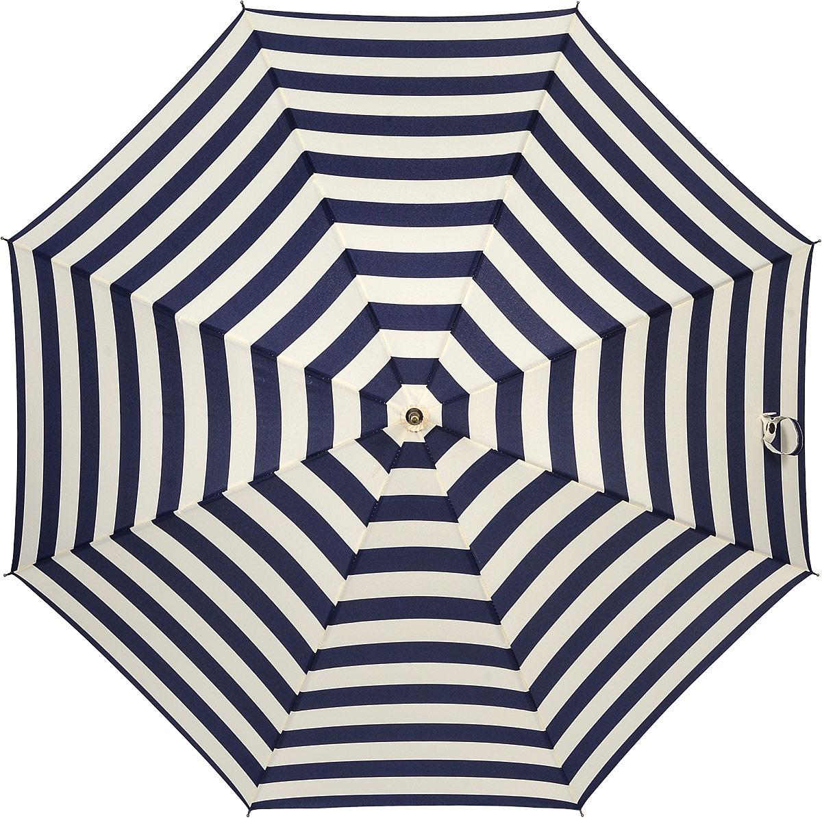 Зонт женский Kawaii Factory Sea-Stripes, цвет: темно-синий, молочный. KW042-000159REM12-CAM-GREENBLACKЭлегантный зонт-трость от Kawaii Factory Sea-Stripes оформлен интересным принтом в полоску. Зонт состоит из стержня и 8 спиц, изготовленных из металла. Купол изготовлен из полиэстера, который надежно защитит вас от дождя. Зонт дополнен удобной ручкой, которая выполнена в виде крючка. Также зонт имеет наконечник, который устраняет попадание воды на стержень и уберегает зонт от повреждений. Изделие имеет механический механизм сложения.