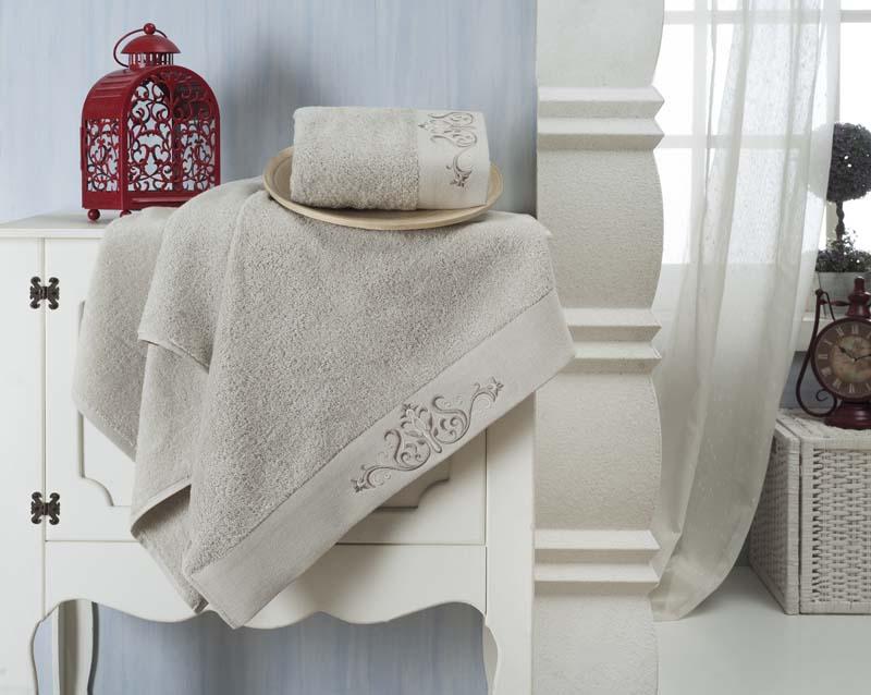 Набор махровых полотенец Karna Velsen, цвет: серый, 2 шт набор из 2х махровых полотенец розовый 50 90 70х140 узт нпм 102 04