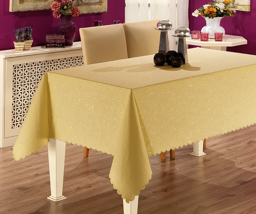 Скатерть Karna Prapitka Gofrali, цвет: горчичный, 150 х 300 смVT-1520(SR)Скатерть Karna Prapitka Gofrali выполнена из полиэстера. Скатерть прямоугольной формы пригодится для декорирования стола. Вы защитите поверхность стола от воды, пятен и механических воздействий, а также создадите атмосферу уюта и домашнего тепла в интерьере вашей кухни или комнаты.