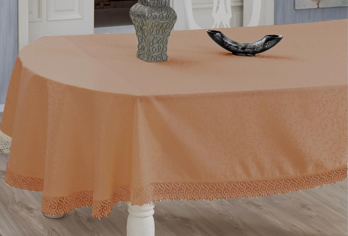 Скатерть Evdy Kdk, прямоугольная, цвет: оранжевый, 160 х 220 см3125082100Прямоугольная скатерть Evdy Kdk выполнена из высококачественного полиэстера и оформлена изящным узором, края оснащены фестонами. Использование такой скатерти сделает застолье торжественным, поднимет настроение гостей и приятно удивит их вашим изысканным вкусом. Также вы можете использовать эту скатерть для повседневной трапезы, превратив каждый прием пищи в волшебный праздник и веселье. Это текстильное изделие станет изысканным украшением вашего дома!
