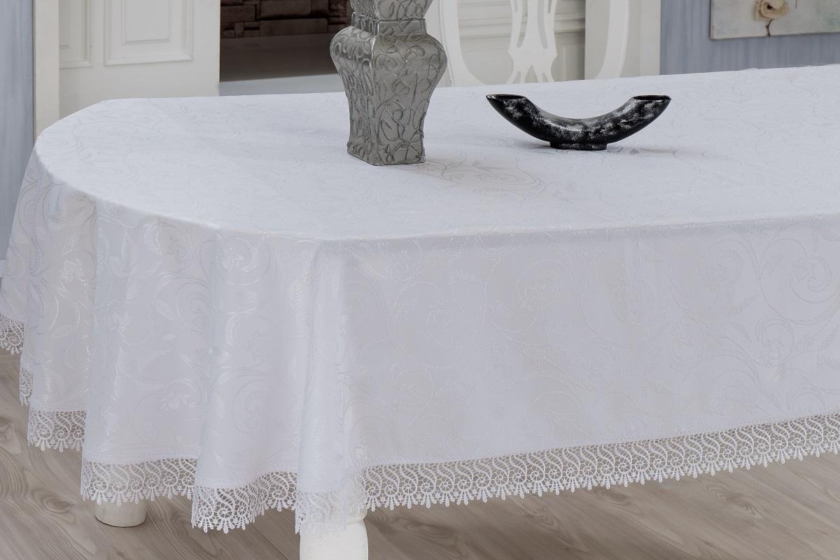 Скатерть Evdy Kdk, квадратная, цвет: белый, 160 х 160 см. 867/3/CHAR001VT-1520(SR)Квадратная скатерть Evdy Kdk выполнена из высококачественного полиэстера и оформлена изящным цветочным узором, края оснащены фестонами. Использование такой скатерти сделает застолье торжественным, поднимет настроение гостей и приятно удивит их вашим изысканным вкусом. Также вы можете использовать эту скатерть для повседневной трапезы, превратив каждый прием пищи в волшебный праздник и веселье. Это текстильное изделие станет изысканным украшением вашего дома!