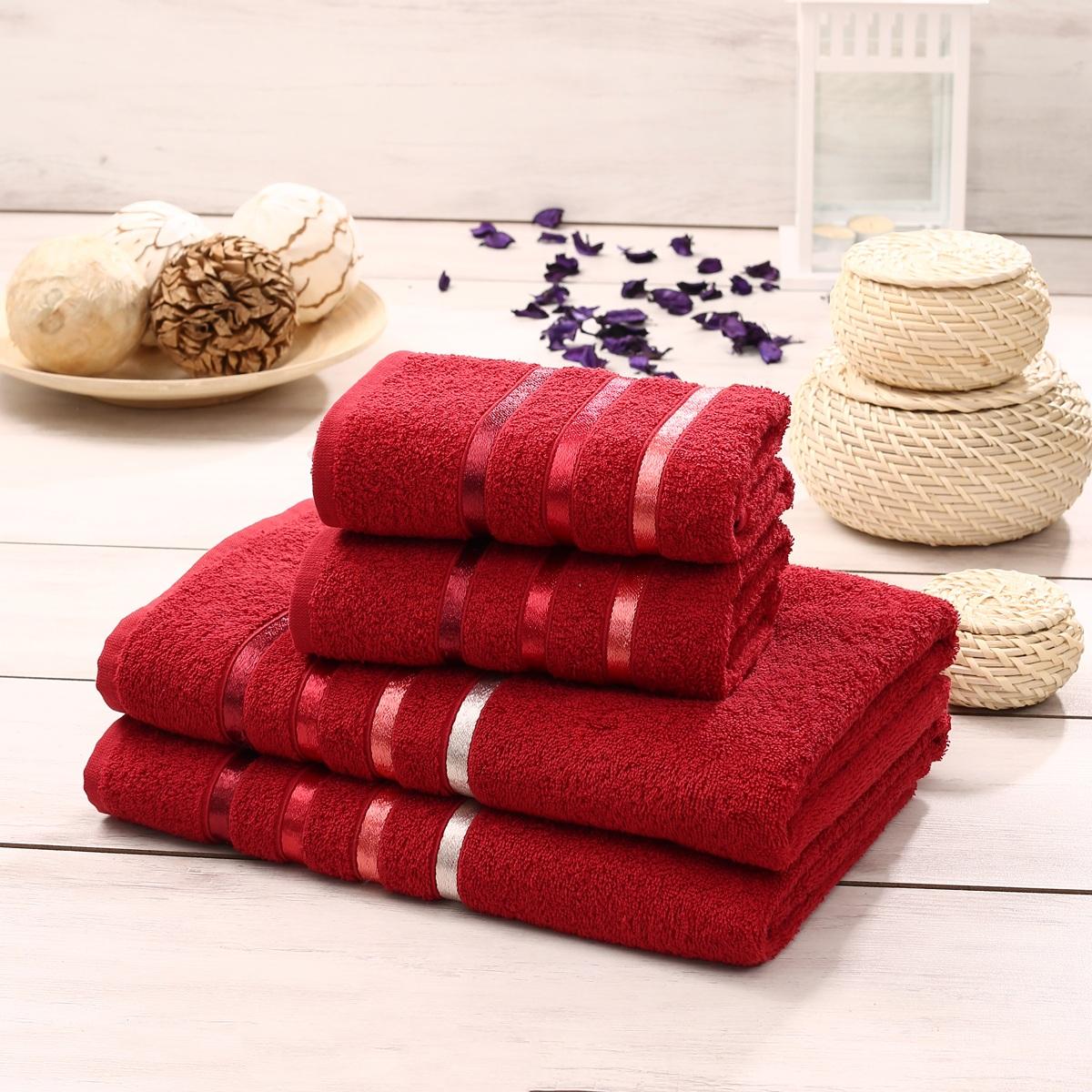 Набор махровых полотенец Karna Bale, цвет: красный, 4 шт. 953/CHAR023CLP446Набор Karna Bale включает 2 полотенца для лица, рук и 2 банных полотенца. Изделия выполнены из высококачественного хлопка с отделкой в виде полос. Каждое полотенце отличается нежностью и мягкостью материала, утонченным дизайном и превосходным качеством. Они прекрасно впитывают влагу, быстро сохнут и не теряют своих свойств после многократных стирок. Такой набор создаст в вашей ванной царственное великолепие и подарит чувство ослепительного торжества. А также станет приятным подарком для ваших близких или друзей. Набор украшен текстильной лентой. Размер:50 x 80 см - 2шт. и 70 x 140 см - 2 шт.