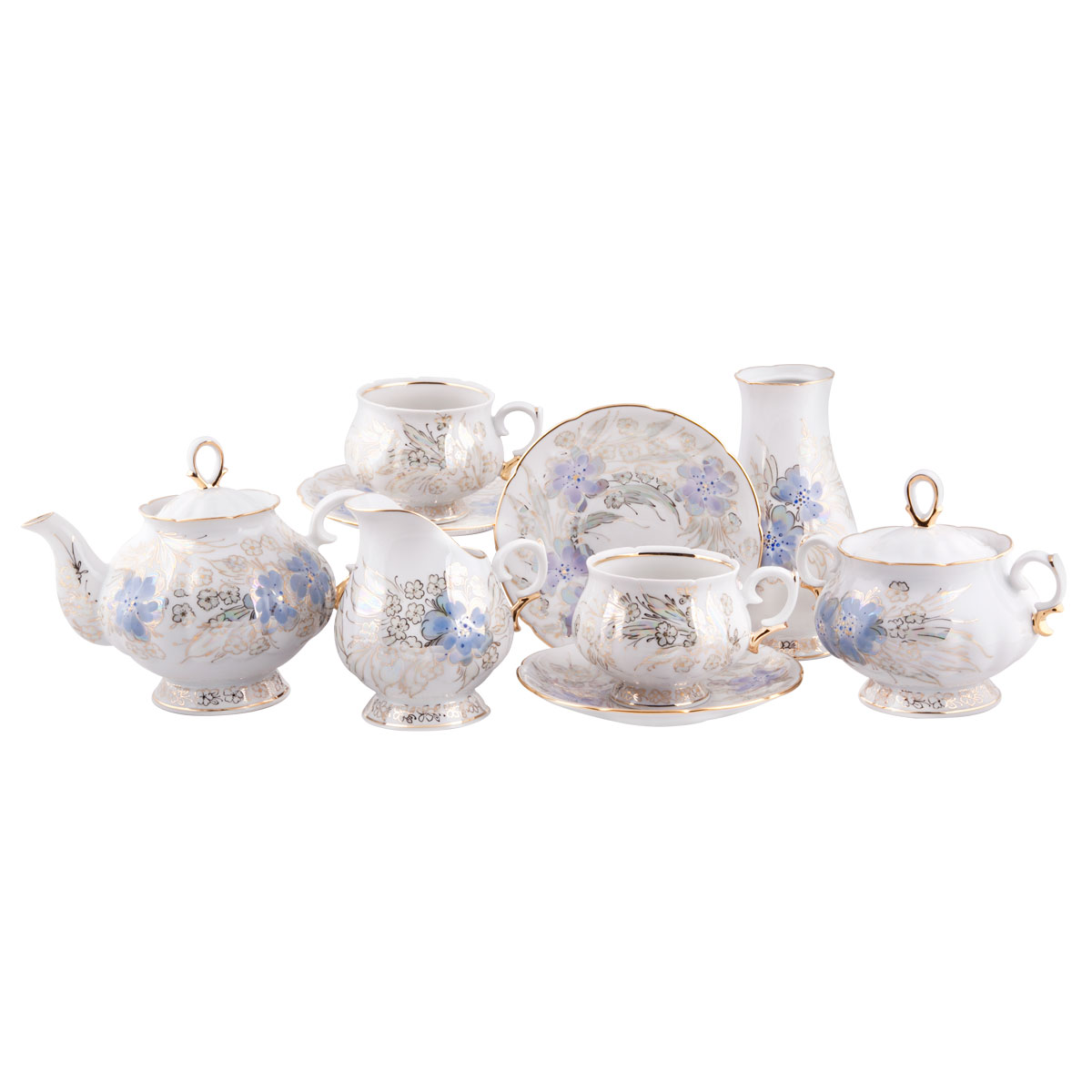 Сервиз чайный Башфарфор Людмила, 16 предметовVT-1520(SR)Сервиз чайный из белого фарфора рассчитан на 6 персон. Тонкий белый фарфор.Скромный, но очень нежный и романтичный сервиз, создающий настроение. Удобная, практичная, легкая посуда, подходит и для особых случаев и на каждый день.В состав набора входит: чашка 250мл 6 шт, блюдце 14,5см 6 шт, сахарница 300мл 1шт, чайник 600мл 1 шт, Молочник 250мл 1шт, ваза 1шт.