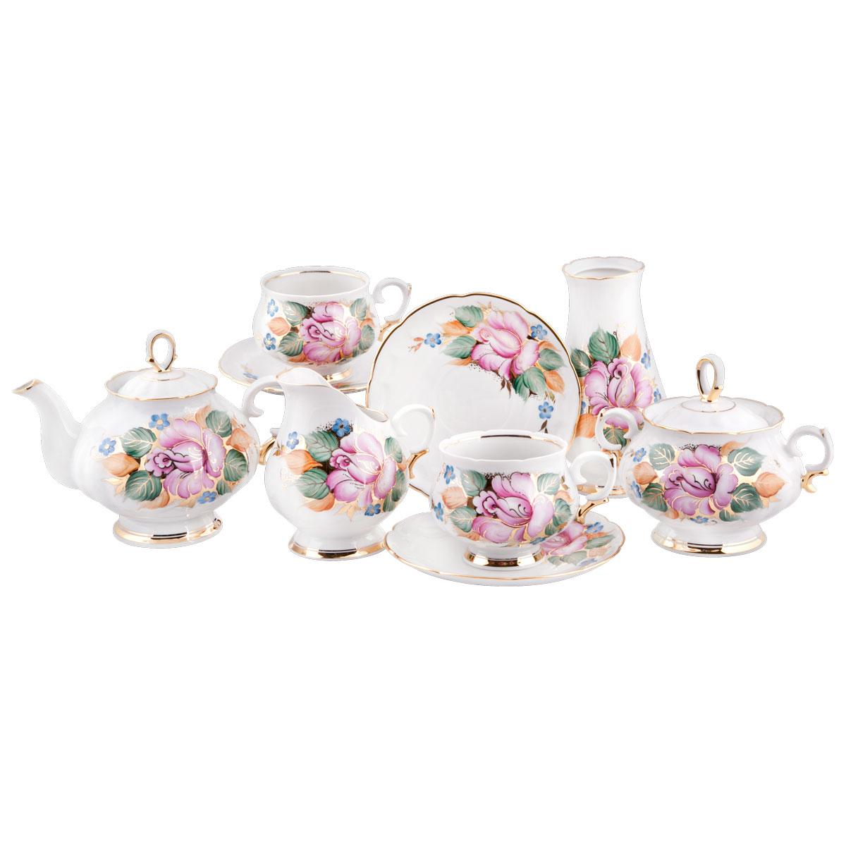 Сервиз чайный Башфарфор Розалия, 16 предметовVT-1520(SR)Сервиз чайный из белого фарфора рассчитан на 6 персон. Тонкий белый фарфор.Изумительная посуда для настоящих ценителей с хорошим вкусом, подходит и для особых случаев и на каждый день. В состав набора входит: чашка 250мл 6 шт, блюдце 14,5см 6 шт, сахарница 300мл 1шт, чайник 600мл 1 шт, Молочник 250мл 1шт.