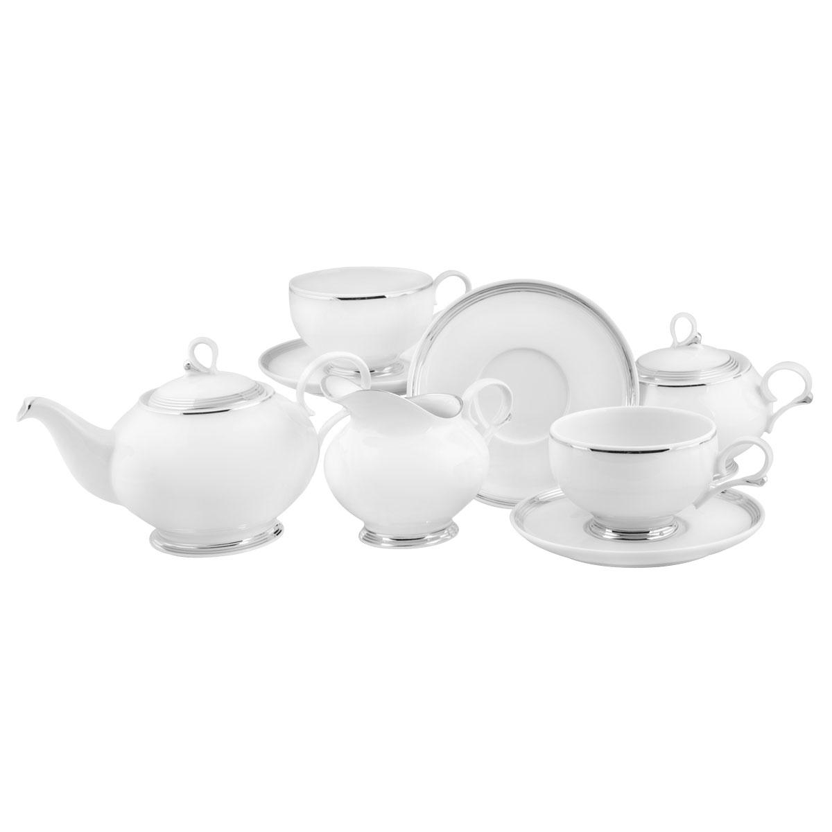 Сервиз чайный Башфарфор Серебряная нить, 15 предметовVT-1520(SR)Сервиз чайный из белого фарфора рассчитан на 6 персон. Тонкий белый фарфор украшен серебрянным орнаментом. Удобная, практичная, легкая посуда, подходит и для особых случаев и на каждый день.В состав набора входит: чашка 250мл 6 шт, блюдце 14,5см 6 шт, сахарница 300мл 1шт, чайник 600мл 1 шт, Молочник 250мл 1шт.