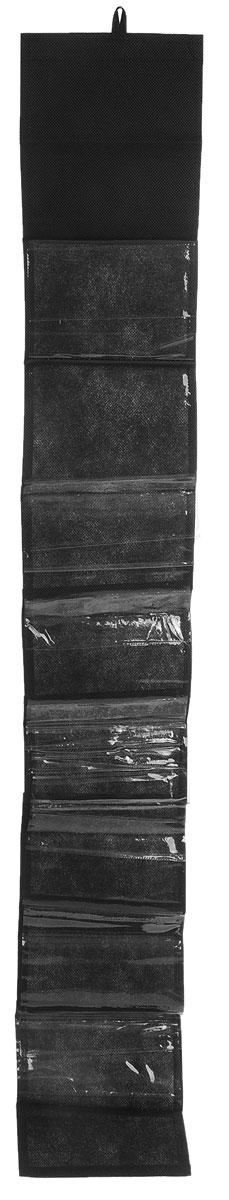 Чехол-карман для мелочей Eva, подвесной, цвет: черный, 120 х 16 смЕ41_черныйПодвесной чехол-карман Eva, выполненный из спанбонда и ПВХ, предназначен для хранения мелочей. Изделие оснащено 8 вместительными карманами. С помощью специальной петельки и липучек чехол можно разместить на стене, за дверью или в шкафу. Особая конструкция позволяет, при необходимости, одним движением сложить или разложить полку. .С таким чехлом-карманом вы сможете поддерживатьпорядок в доме и решить проблему хранения одежды, игрушек и разбросанных мелочей...Размер чехла: 120 х 16 см..Количество карманов: 8 шт.