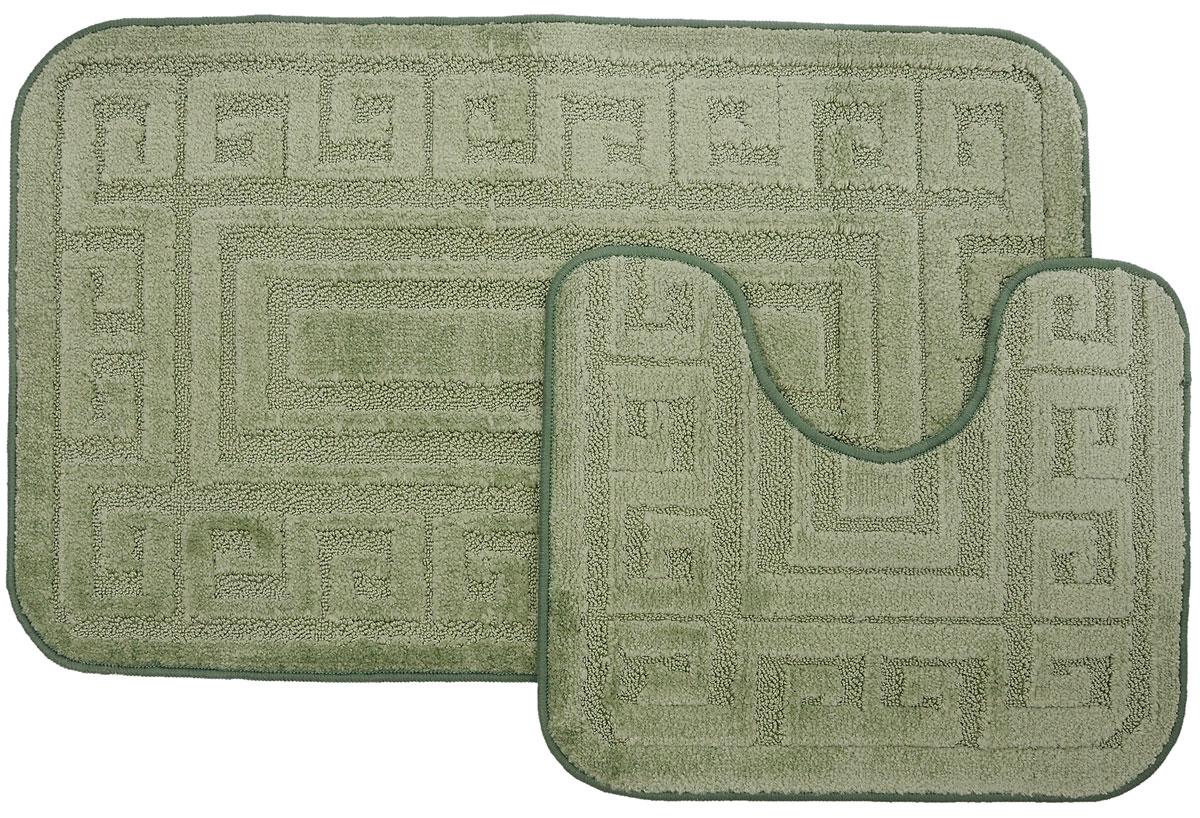 Набор ковриков для ванной MAC Carpet Рома. Версаче, цвет: светло-зеленый, 60 х 100 см, 50 х 60 см, 2 шт25051 7_желтыйНабор MAC Carpet Рома. Версаче, выполненный из полипропилена, состоит из двух ковриков для ванной комнаты, один из которых имеет вырез под унитаз. Противоскользящее основание изготовлено из термопластичной резины. Коврики мягкие и приятные на ощупь, отлично впитывают влагу и быстро сохнут. Высокая износостойкость ковриков и стойкость цвета позволит вам наслаждаться покупкой долгие годы. Можно стирать вручную или в стиральной машине на деликатном режиме при температуре 30°С.