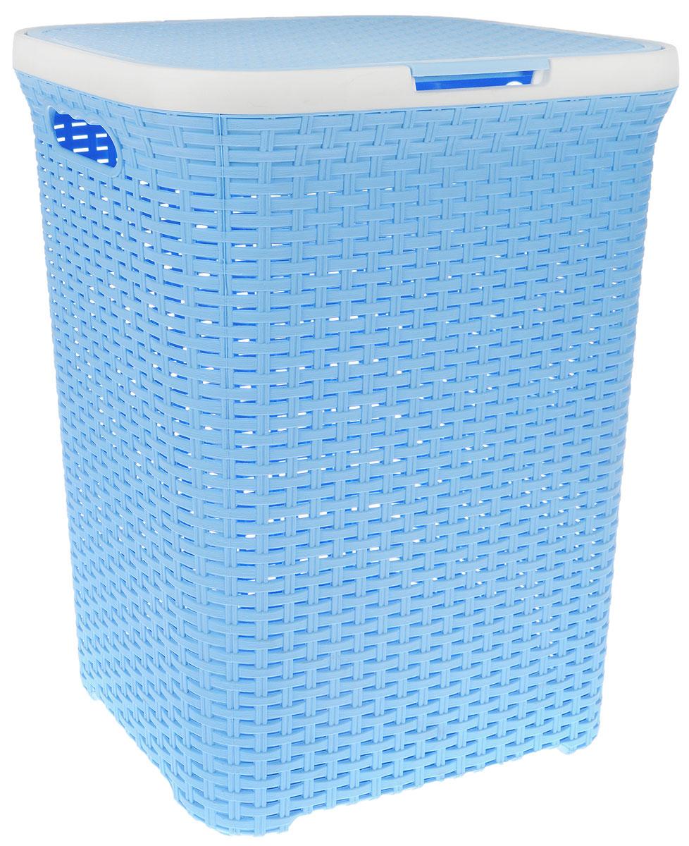 Корзина для белья Violet, цвет: голубой, белый, 60 л531-105Вместительная корзина для белья Violet  изготовлена из прочного цветного пластика. Она отлично подойдет для хранения белья перед стиркой. Специальные отверстия на стенках создают идеальные условия для проветривания. Изделие оснащено крышкой и двумя эргономичными ручками для переноски. Такая корзина для белья прекрасно впишется в интерьер ванной комнаты.Объем: 60 л.