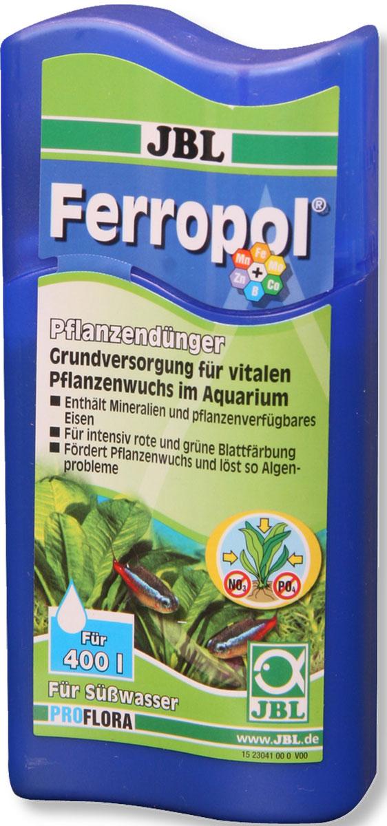 Удобрение для водных растений JBL Ferropol, 100 мл0120710Удобрение JBL Ferropol с микроэлементами предназначено для комплексного ухода за водными растениями в пресноводных аквариумах. Удобрение содержит основные питательные вещества, железо, калий и другие жизненно важные микроэлементы. Таким образом, растения получают питательные вещества для поглощения через листья и корни, чтобы предотвратить симптомы дефицита (например, нехватку железа). Удобрение обеспечивает пышный рост растений. Благодаря оптимальной концентрации железа и сбалансированному составу листья приобретают интенсивный цвет. Здоровые растения предотвращают рост водорослей, обеспечивают аквариум кислородом, предоставляют укрытие и снижают количество патогенов. Удобрение не содержит фосфатов и нитратов. Безопасно для пресноводных крабов и креветок.