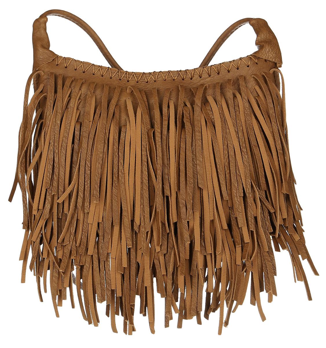 Сумка женская Janes Story, цвет: коричневый. 823-06A-B86-05-CОригинальная сумка Janes Story придется по душе тем девушкам, которые любят неожиданные сочетания и не боятся комбинировать разноплановые вещи. Изделие выполнено из искусственной кожи и украшено оригинальной бахромой, которая придает сумочке романтичный и одновременно смелый вид. Внутренний объем позволяет вместить в аксессуар все необходимое. Модель имеет одно основное отделение, закрывающееся на застежку-молнию. Внутри имеется один накладной кармашек для мелочей. Оригинальный аксессуар позволит вам завершить образ и быть неотразимой.