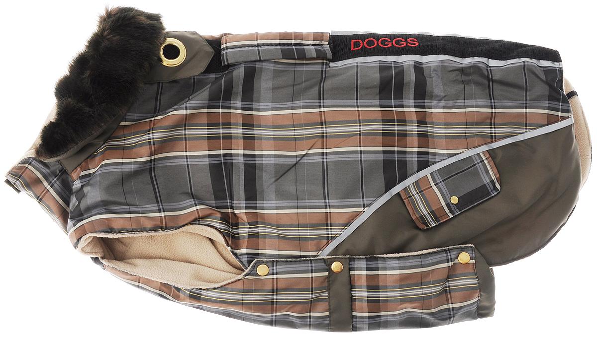 Попона для собак Dogmoda Doggs, для девочки, цвет: серый, зеленый. Размер L0120710Теплая попона для собак Dogmoda Doggs отлично подойдет для прогулок в холодное время года. Попона изготовлена из водоотталкивающего полиэстера, защищающего от ветра и осадков, с утеплителем из синтепона, который сохранит тепло даже в сильные морозы, а на подкладке используется флис, который отлично сохраняет тепло и обеспечивает воздухообмен. Попона оснащена прорезями для ног и застегивается на кнопки, а высокий ворот с расширителем имеет застежку-молнию и кнопку, благодаря чему ее легко надевать и снимать. Ворот украшен искусственным мехом. На животе попона затягивается на шнурок-кулиску с зажимом. Спинка декорирована эмблемой с надписью Dogmoda, вышитой надписью Doggs и оснащена светоотражающими элементами и ручкой. Модель снабжена непромокаемым карманом для размещения записки с информацией о вашем питомце, на случай если он потеряется.Благодаря такой попоне питомцу будет тепло и комфортно в любое время года.Попона подходит для собак следующих пород: - шарпей- лайка- австралийская овчарка- колли- бордер колли- американский стаффордширский терьер- английский бультерьер- американский бульдог.
