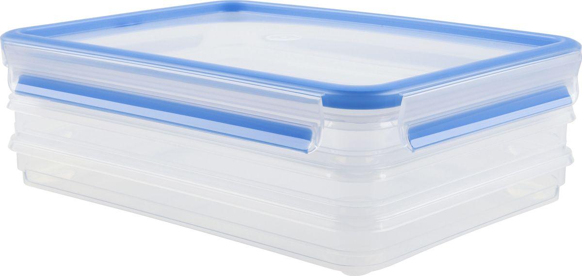 Набор контейнеров для нарезки Emsa Clip&Close, 1 л, 3 штVT-1520(SR)Набор контейнеров Emsa Clip&Close изготовлен из высококачественного антибактериального пищевого пластика, имеющего сертификат BPA-free, который выдерживает температуру от -40°С до +110°С, не впитывает запахи и не изменяет цвет. Это абсолютно гигиеничный продукт, который подходит для хранения даже детского питания. 100% герметичность - идеально не только для хранения, но и для транспортировки пищи. Герметичность достигается за счет специальных силиконовых прослоек, которые позволяют использовать контейнер для хранения не только пищи, но и жидкости. В таком контейнере продукты долгое время сохраняют свою свежесть - до 4-х раз дольше по сравнению с обычными, в том числе и вакуумными контейнерами. 100% гигиеничность - уникальная технология применения медицинского силикона в уплотнителе крышки: никаких полостей - никаких микробов. Изделие снабжено крышкой, плотно закрывающейся на 4 защелки. 100% удобство - прозрачные стенки позволяют просматривать содержимое, сохранение пространства за счёт лёгкой установки контейнеров друг на друга. Изделие подходит для домашнего использования, для пикников, поездок, отдыха на природе, его можно взять с собой на работу или учебу. Можно использовать в СВЧ-печах, холодильниках, посудомоечных машинах, морозильных камерах.Размер контейнеров: 26,5 x 19,4 x 9,6 см.