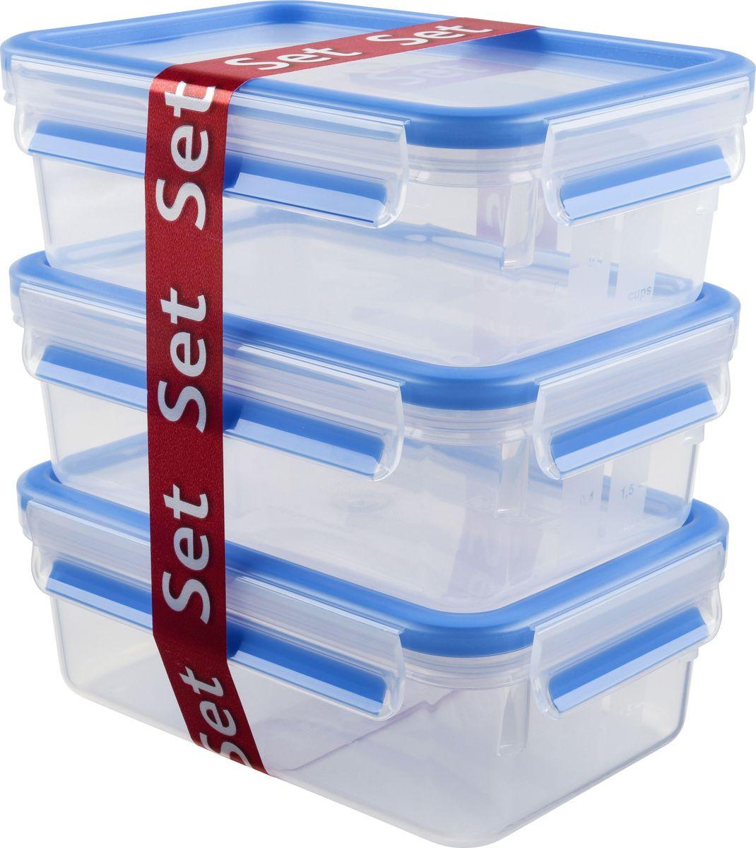 Набор контейнеров Emsa Clip&Close, 1 л, 3 штVT-1520(SR)Набор контейнеров Emsa Clip&Close изготовлен из высококачественного антибактериального пищевого пластика, имеющего сертификат BPA-free, который выдерживает температуру от -40°С до +110°С, не впитывает запахи и не изменяет цвет. Это абсолютно гигиеничный продукт, который подходит для хранения даже детского питания. 100% герметичность - идеально не только для хранения, но и для транспортировки пищи. Герметичность достигается за счет специальных силиконовых прослоек, которые позволяют использовать контейнер для хранения не только пищи, но и жидкости. В таком контейнере продукты долгое время сохраняют свою свежесть - до 4-х раз дольше по сравнению с обычными, в том числе и вакуумными контейнерами. 100% гигиеничность - уникальная технология применения медицинского силикона в уплотнителе крышки: никаких полостей - никаких микробов. Изделие снабжено крышкой, плотно закрывающейся на 4 защелки. 100% удобство - прозрачные стенки позволяют просматривать содержимое, сохранение пространства за счёт лёгкой установки контейнеров друг на друга. Изделие подходит для домашнего использования, для пикников, поездок, отдыха на природе, его можно взять с собой на работу или учебу. Можно использовать в СВЧ-печах, холодильниках, посудомоечных машинах, морозильных камерах.Размер контейнеров: 19,7 х 13,6 х 7,2 см.