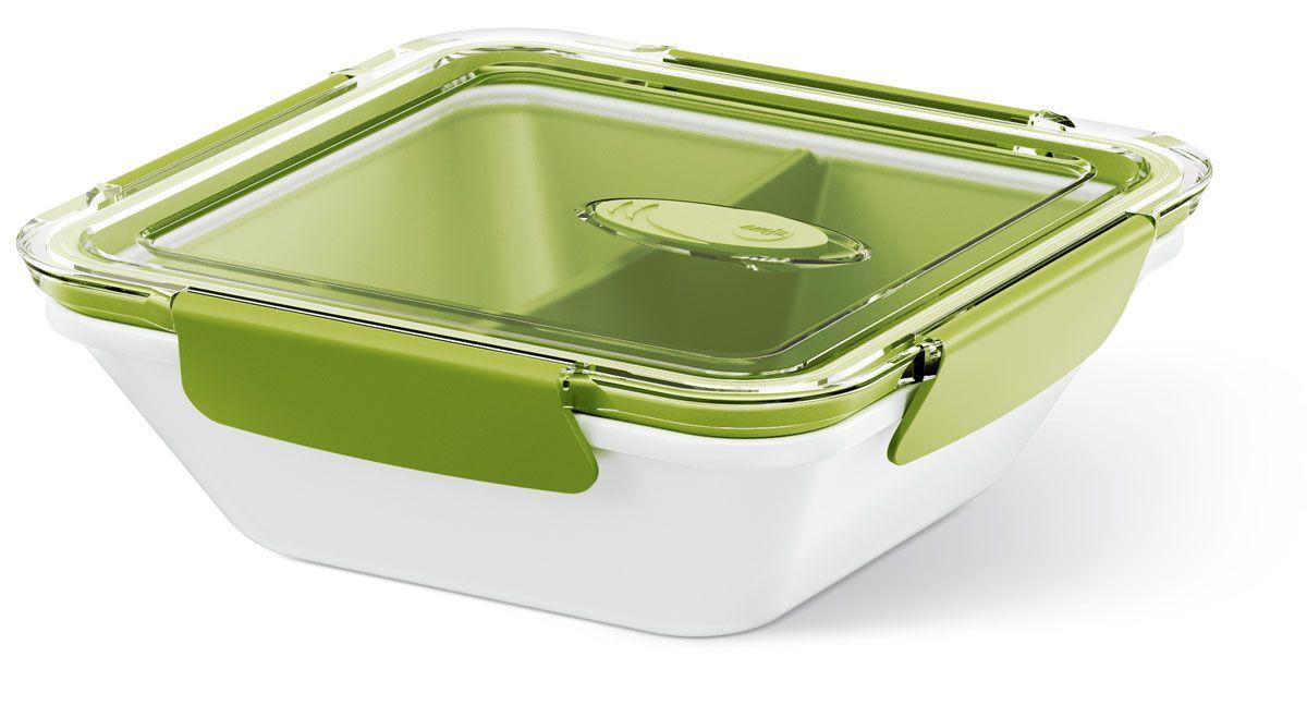 Ланч-бокс Emsa Bento Box, квадратный, цвет: белый, зеленый, 900 мл513960Ланч-бокс Emsa Bento Box - еда с собой в стильной упаковке. В удобном и практичном ланч-боксе еда дольше останется свежей, вкусной и надежно упакованной.На крышке имеетсяклапан для щадящего режима разогревания в микроволновке. В контейнере предусмотрены практичные отделениями для разных блюд. Ланч-бокс подходит не только для разогрева пищи, но и для заморозки. Можно мыть в посудомоечной машине. Современный дизайн позволяет брать контейнер с собой на учебу, работу или прогулку.
