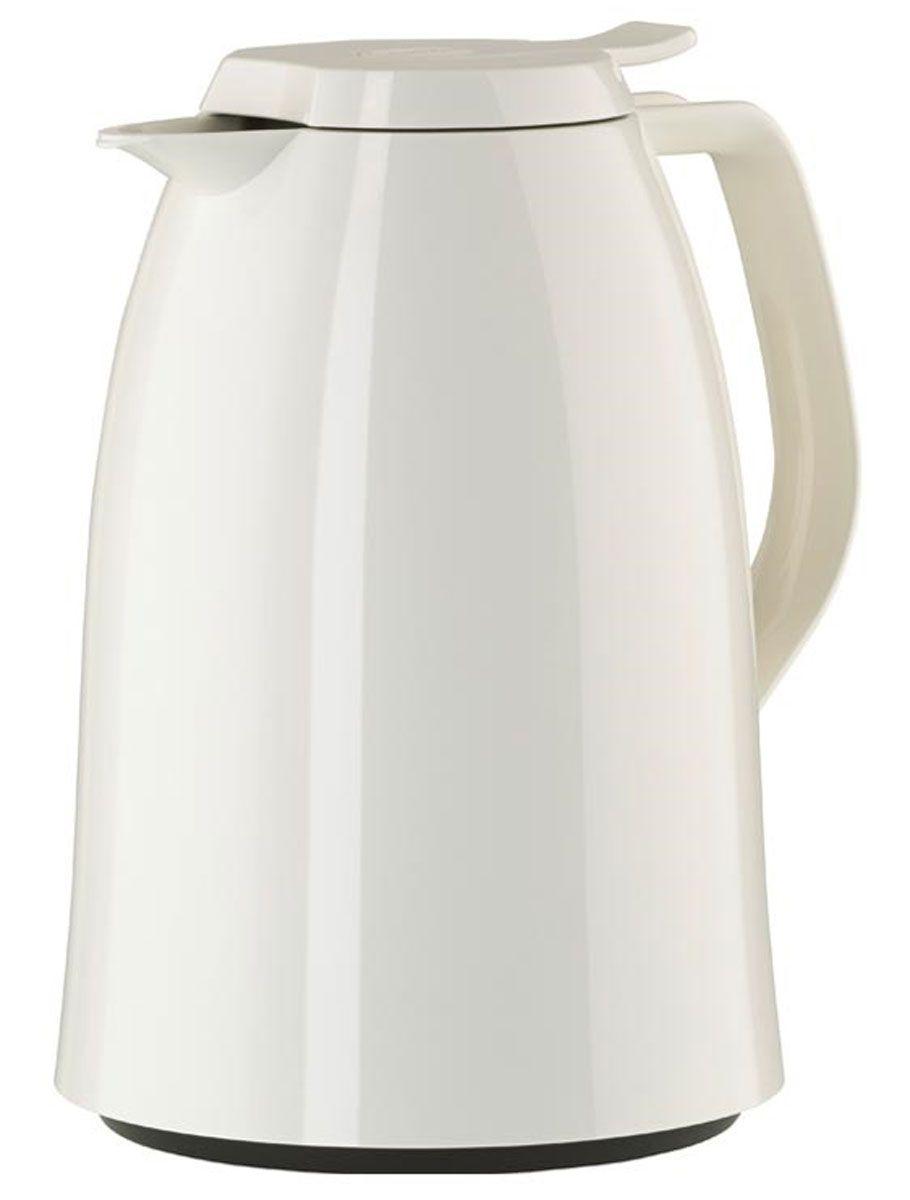 Термос-кофейник Emsa Mambo, цвет: белый, 1,5 л68/5/4Элегантный термос-кофейник Emsa Mambo с двустенной вакуумной колбой из стекла и пробкой Quick Press. Крышка с системой Easy Open позволяет управляться одной рукой. Оригинальный дизайн впишет в любой современный интерьер.