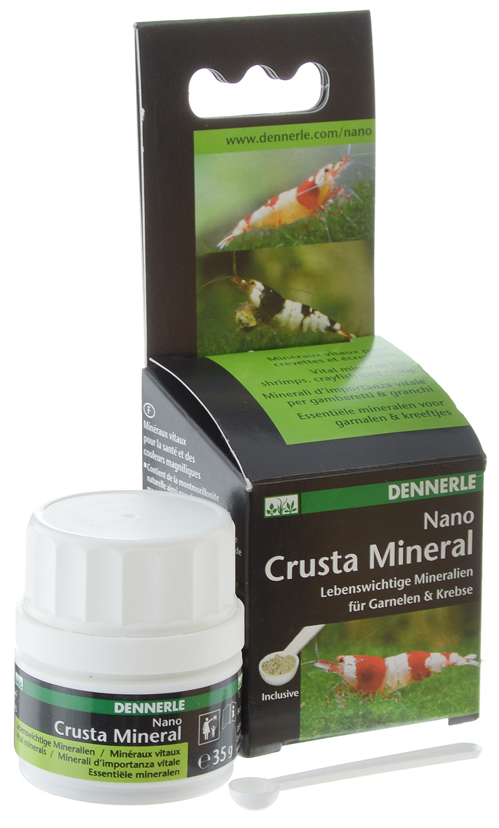 Комплекс минералов Dennerle NANO Crusta Mineral, для креветок, раков и сомов, 35 г0120710Dennerle NANO Crusta Mineral - мультиминеральный препарат,содержащий монтмориллонитовую глину. Комплекс минералов содержит биоактивный кальций и магний для беспроблемной линьки, здорового роста и прочного экзоскелета, также способствует усилению белой окраски всех видов креветок Caridina и Neocaridina.Дозировка и способ применения:2 мерные ложки с небольшой горкой на 10 л аквариумной воды каждую неделю. Более высокая дозировка возможна в тех случаях, когда это необходимо. Размешайте NANO Crusta Mineral в воде, а затем разлейте равномерно по аквариуму. Незначительные помутнение воды исчезает в течение нескольких часов.Эта дозировка добавляет около 1,42 мг/л кальция и 0,23 мг/л магния в воде и повышает общую жесткость на 0,25°d. Не приводит к увеличению карбонатной жесткости.