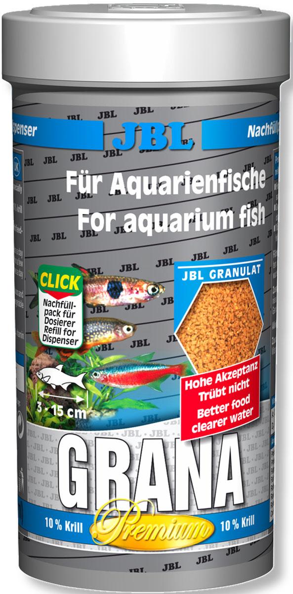 Корм для мелких рыб JBL Grana, в форме гранул, 250 мл (108 г)0120710Корм JBL Grana - это полноценный корм для оптимального роста мелких пресноводных рыб. Корм питательный и легко усваивается. Благодаря плавающим и тонущим гранулам идеален для небольших рыб от 3 до 15 см, обитающих во всех слоях воды. Рыбы охотно принимают его благодаря специально отобранному сырью. Корм не вызывает помутнения воды: сокращает рост водорослей благодаря правильному содержанию фосфатов, улучшает качество воды благодаря усвояемости, в результате снижается количество экскрементов рыб. Не содержит рыбной муки низкого качества, использована рыба от производства филе для людей. Рекомендации по кормлению: 1-2 раза в день давайте столько корма, сколько рыбы съедают за несколько минут. Молодым, растущим рыбам давайте 3-4 раза в день таким же образом. Состав: моллюски и ракообразные, злаки, овощи, растительные побочные продукты, масла и жиры, рыба и рыбные побочные продукты, экстракты растительного белка. Анализ: протеин 45%, жир 6%, клетчатка 5%, зола 9,5%. Содержание витаминов в 1 кг: Витамин А 25000 I.E., Витамин D3 2000 I.E., Витамин Е 300 мг, Витамин C 200 мг. Товар сертифицирован.
