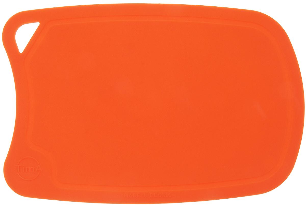 Доска разделочная TimA, цвет: оранжевый, 28 х 19 см54 009312Гибкая разделочная доска TimA, изготовленная из высококачественного полиуретана, займет достойное место среди аксессуаров на вашей кухне. Благодаря гибкости, с доски удобно высыпать нарезанные продукты. Она не тупит металлические и керамические ножи. Не впитывает влагу и легко моется. Обладает исключительной прочностью и износостойкостью.Доска TimA прекрасно подойдет для нарезки любых продуктов.