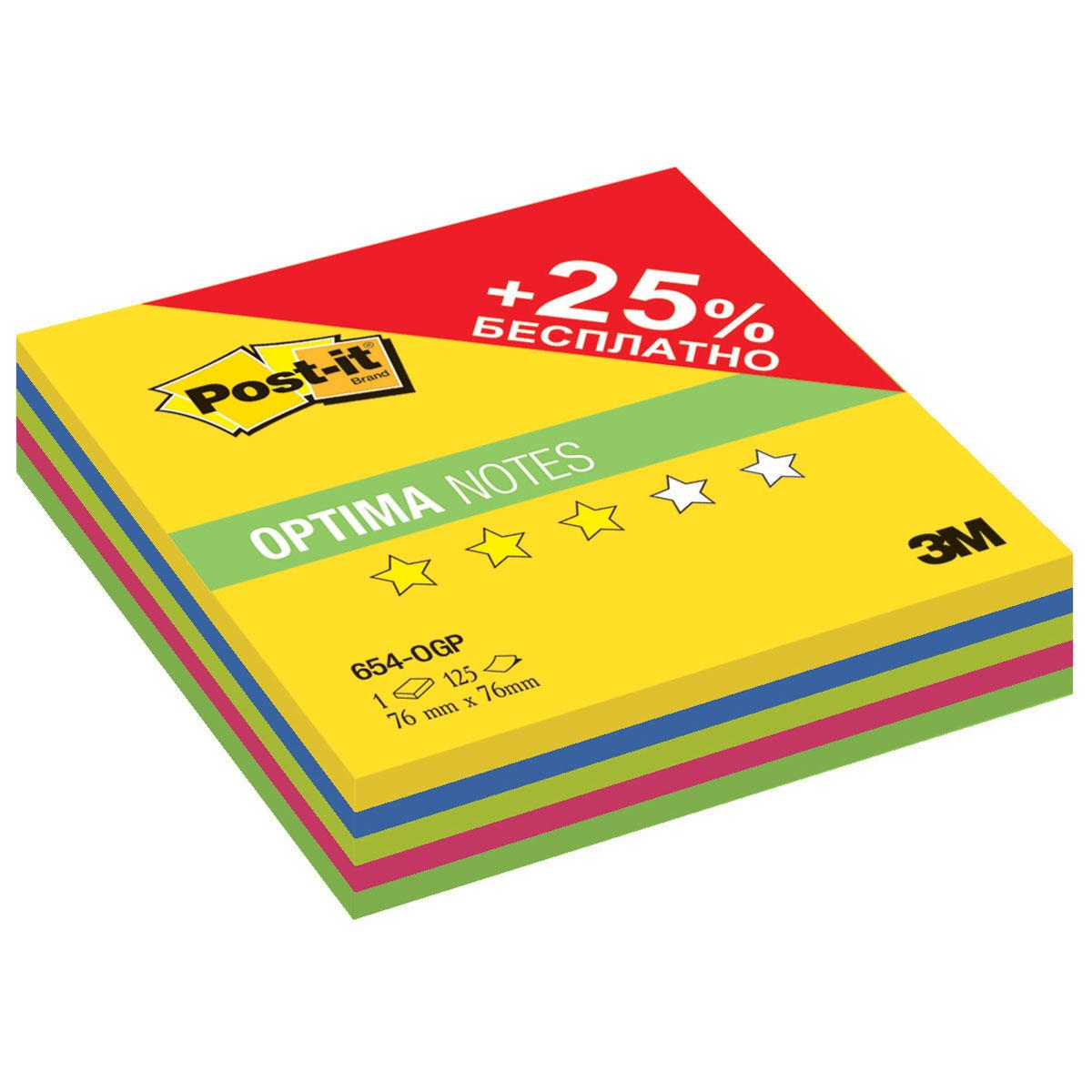 Post-it Бумага для заметок с липким слоем 125 листов 654-OGP0106006Бумага для заметок Post-it - эффективный офисный инструмент, позволяющий рационально организовать работу, используя разнообразные цвета для обозначения дел разной важности.Листы выполнены из цветной бумаги с клеевым краем. Их можно наклеивать на любую гладкую поверхность, не опасаясь оставить след от клея. Клеевой слой не высыхает и выдерживает многократное приклеивание к большинству поверхностей.Блок включает 125 листов пяти различных цветов.
