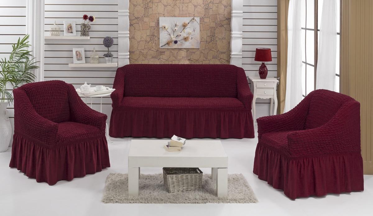 Набор чехлов для дивана и кресел Karna Bulsan, 3 шт, цвет: бордовый1717/CHAR002Набор Karna Bulsan состоит из чехла для трехместного дивана и двух чехлов для кресел. Универсальные чехлы изготовлены из высококачественного материала на основе полиэстера и хлопка и дополнены широкой юбкой, скрывающей низ мебели. Изделия оснащены фиксаторами, которые позволяют надежно закрепить чехол на мебели. Фиксаторы вставляются в расстояние между спинкой и сиденьем, фиксируя чехол в одном положении, и не позволяя ему съезжать и терять форму. Фиксаторы особенно необходимы в том случае, если у вас кожаная мебель или мебель нестандартных габаритов. Характеристики:Плотность: 360 гр/м2. Ширина и глубина посадочного места (кресло): 70-80 см. Высота спинки от посадочного места (кресло): 70-80 см Высота подлокотников (кресло): 35-45 см. Ширина подлокотников (кресло): 25-35 см. Ширина посадочного места (диван): 210-260 см. Глубина посадочного места (диван): 70-80 см Высота спинки от посадочного места (диван): 70-80 см. Ширина подлокотников (диван): 25-35 см.Высота юбки (диван и кресло): 35 см.