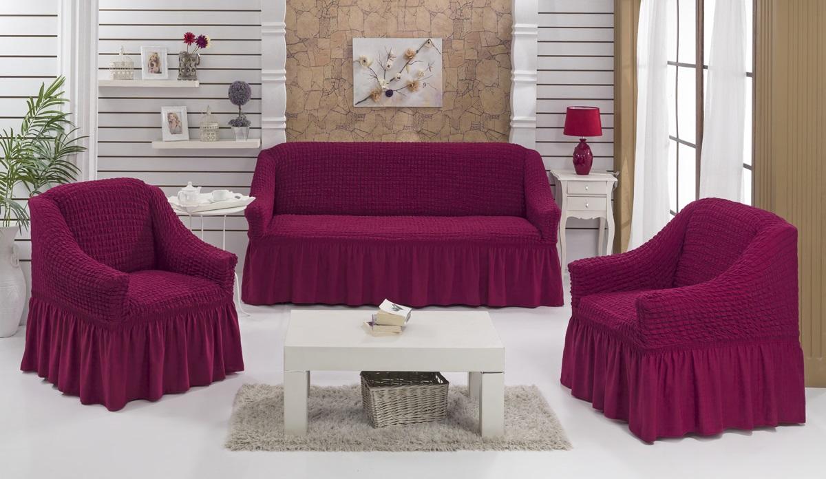 Набор чехлов для мягкой мебели Burumcuk Bulsan, цвет: фуксия, размер: стандарт, 3 шт1717/CHAR003Набор чехлов для мягкой мебели Burumcuk Bulsan придаст вашеймебели новый внешний вид. Каждый элемент интерьерануждается в уходе и защите. В большинстве случаевпотертости появляются на диванах и креслах. В набор входит чехол для трехместного дивана и два чехла для кресла. Чехлы изготовлены из 60% полиэстера и 40% хлопка. Такой материал прекрасно переносит нагрузки, долго не стареет и его просто очистить от грязи. Набор чехлов Karna Bulsan создан для тех, кто не планирует покупать новую мебель каждый год.Размер кресла:Ширина и глубина посадочного места: 70-80 см.Высота спинки от посадочного места: 70-80 см.Высота подлокотников: 35-45 см.Ширина подлокотников: 25-35 см.Высота юбки: 35 см.Размер дивана:Ширина посадочного места: 210-260 см.Глубина посадочного места: 70-80см.Высота спинки от посадочного места: 70-80 см.Ширина подлокотников: 25-35 см.Высота юбки: 35 см.