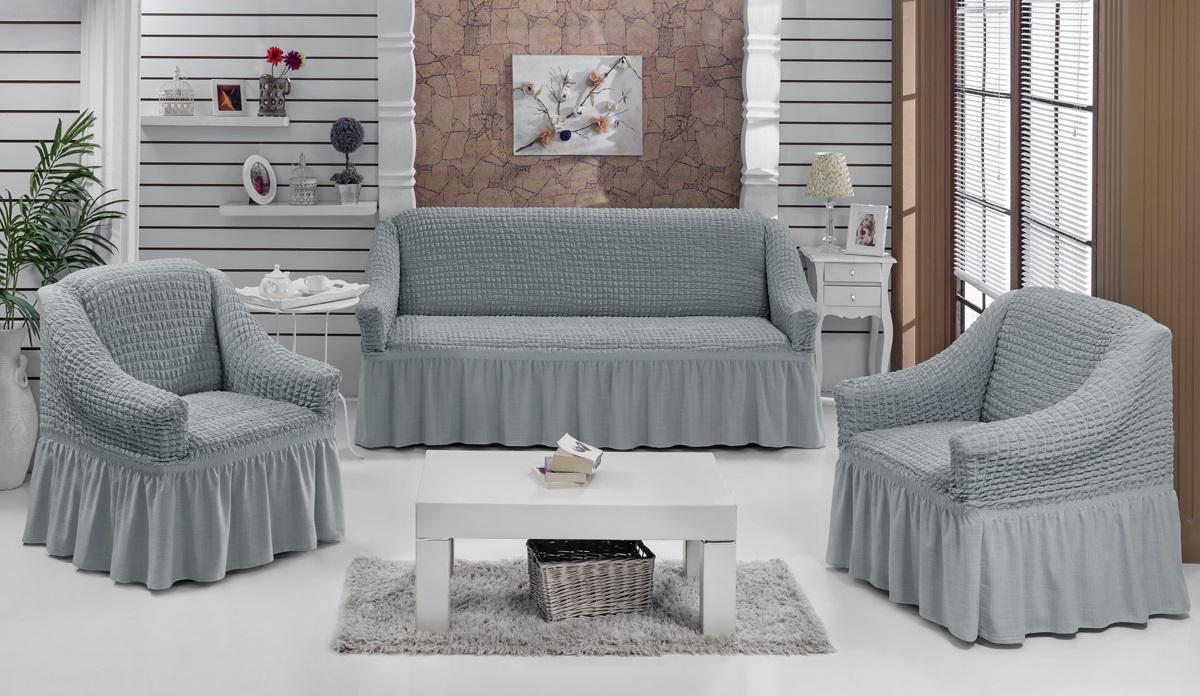 Набор чехлов для мягкой мебели Burumcuk Bulsan, цвет: серый, размер: стандарт, 3 шт1717/CHAR004Набор чехлов для мягкой мебели Burumcuk Bulsan придаст вашеймебели новый внешний вид. Каждый элемент интерьерануждается в уходе и защите. В большинстве случаевпотертости появляются на диванах и креслах. В набор входит чехол для трехместного дивана и два чехла для кресла. Чехлы изготовлены из 60% полиэстера и 40% хлопка. Такой материал прекрасно переносит нагрузки, долго не стареет и его просто очистить от грязи. Набор чехлов Karna Bulsan создан для тех, кто не планирует покупать новую мебель каждый год.Размер кресла:Ширина и глубина посадочного места: 70-80 см.Высота спинки от посадочного места: 70-80 см.Высота подлокотников: 35-45 см.Ширина подлокотников: 25-35 см.Высота юбки: 35 см.Размер дивана:Ширина посадочного места: 210-260 см.Глубина посадочного места: 70-80см.Высота спинки от посадочного места: 70-80 см.Ширина подлокотников: 25-35 см.Высота юбки: 35 см.
