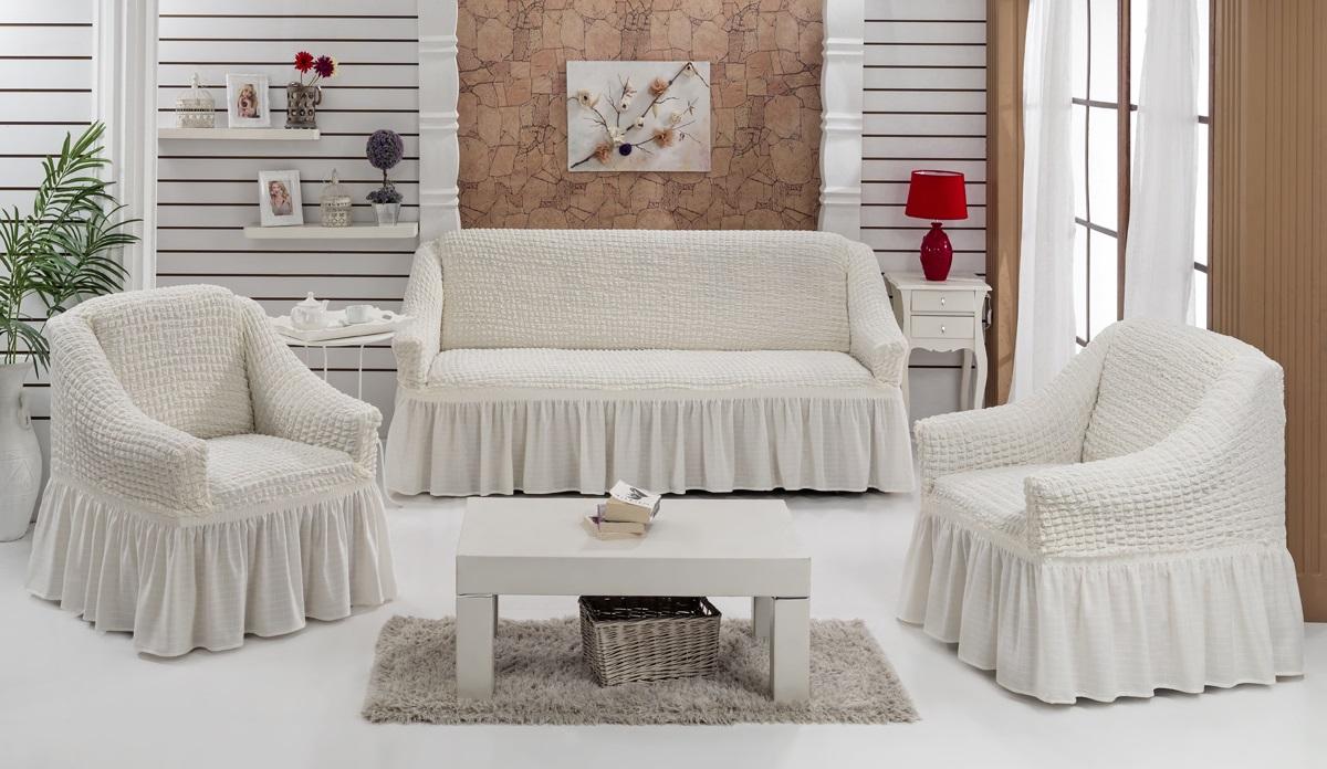 Набор чехлов для мягкой мебели Burumcuk Bulsan, цвет: натурал, размер: стандарт, 3 шт1717/CHAR008Набор чехлов для мягкой мебели Burumcuk Bulsan придаст вашеймебели новый внешний вид. Каждый элемент интерьерануждается в уходе и защите. В большинстве случаевпотертости появляются на диванах и креслах. В набор входит чехол для трехместного дивана и два чехла для кресла. Чехлы изготовлены из 60% полиэстера и 40% хлопка. Такой материал прекрасно переносит нагрузки, долго не стареет и его просто очистить от грязи. Набор чехлов Karna Bulsan создан для тех, кто не планирует покупать новую мебель каждый год.Размер кресла:Ширина и глубина посадочного места: 70-80 см.Высота спинки от посадочного места: 70-80 см.Высота подлокотников: 35-45 см.Ширина подлокотников: 25-35 см.Высота юбки: 35 см.Размер дивана:Ширина посадочного места: 210-260 см.Глубина посадочного места: 70-80см.Высота спинки от посадочного места: 70-80 см.Ширина подлокотников: 25-35 см.Высота юбки: 35 см.