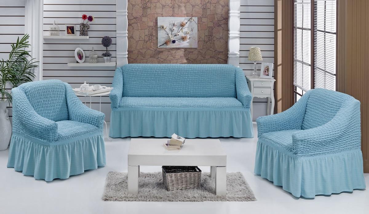 Набор чехлов для мягкой мебели Burumcuk Bulsan, цвет: бирюзовый, размер: стандарт, 3 шт1717/CHAR014Набор чехлов для мягкой мебели Burumcuk Bulsan придаст вашеймебели новый внешний вид. Каждый элемент интерьерануждается в уходе и защите. В большинстве случаевпотертости появляются на диванах и креслах. В набор входит чехол для трехместного дивана и два чехла для кресла. Чехлы изготовлены из 60% полиэстера и 40% хлопка. Такой материал прекрасно переносит нагрузки, долго не стареет и его просто очистить от грязи. Набор чехлов Karna Bulsan создан для тех, кто не планирует покупать новую мебель каждый год.Размер кресла:Ширина и глубина посадочного места: 70-80 см.Высота спинки от посадочного места: 70-80 см.Высота подлокотников: 35-45 см.Ширина подлокотников: 25-35 см.Высота юбки: 35 см.Размер дивана:Ширина посадочного места: 210-260 см.Глубина посадочного места: 70-80см.Высота спинки от посадочного места: 70-80 см.Ширина подлокотников: 25-35 см.Высота юбки: 35 см.