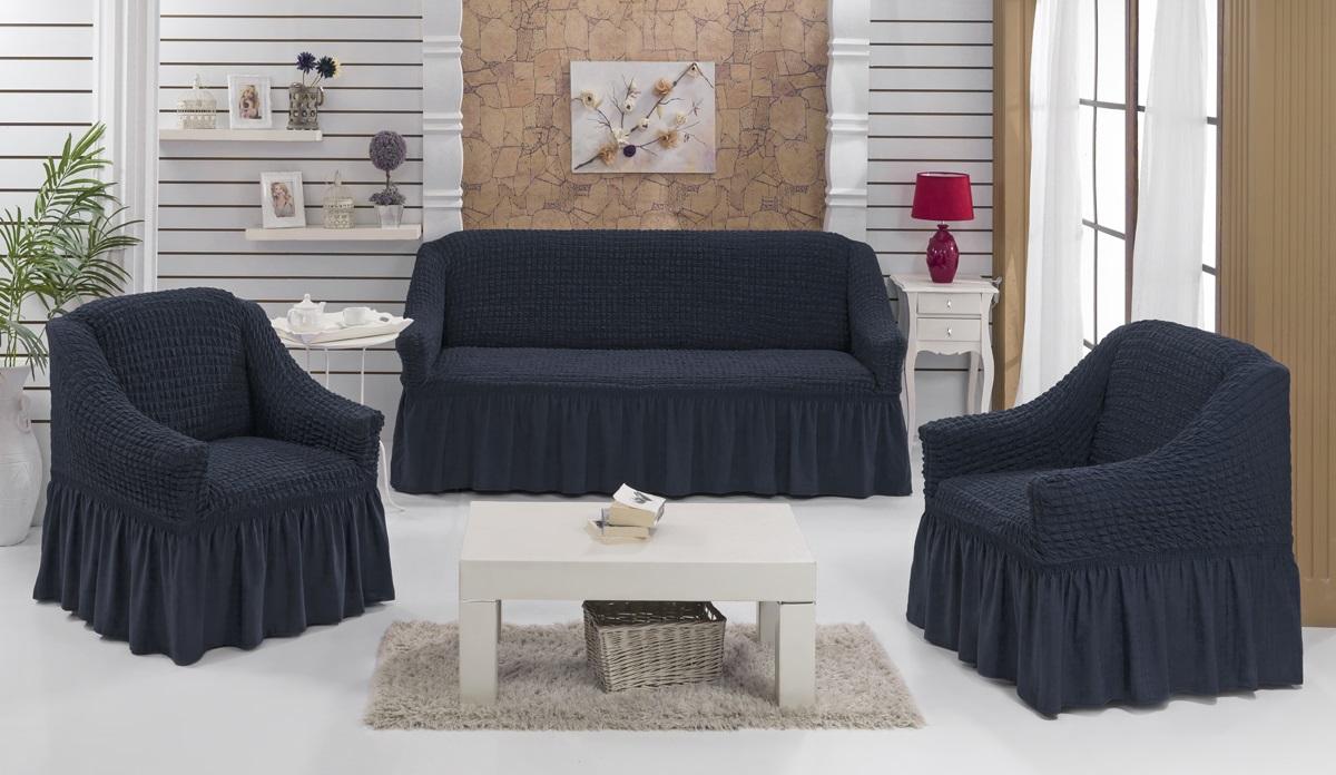 Набор чехлов для мягкой мебели Burumcuk Bulsan, цвет: черный, размер: стандарт, 3 шт1717/CHAR016Набор чехлов для мягкой мебели Burumcuk Bulsan придаст вашеймебели новый внешний вид. Каждый элемент интерьерануждается в уходе и защите. В большинстве случаевпотертости появляются на диванах и креслах. В набор входит чехол для трехместного дивана и два чехла для кресла. Чехлы изготовлены из 60% полиэстера и 40% хлопка. Такой материал прекрасно переносит нагрузки, долго не стареет и его просто очистить от грязи. Набор чехлов Karna Bulsan создан для тех, кто не планирует покупать новую мебель каждый год.Размер кресла:Ширина и глубина посадочного места: 70-80 см.Высота спинки от посадочного места: 70-80 см.Высота подлокотников: 35-45 см.Ширина подлокотников: 25-35 см.Высота юбки: 35 см.Размер дивана:Ширина посадочного места: 210-260 см.Глубина посадочного места: 70-80см.Высота спинки от посадочного места: 70-80 см.Ширина подлокотников: 25-35 см.Высота юбки: 35 см.