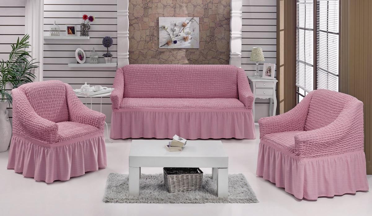 Набор чехлов для мягкой мебели Burumcuk Bulsan, цвет: розовый, размер: стандарт, 3 шт1717/CHAR017Набор чехлов для мягкой мебели Burumcuk Bulsan придаст вашеймебели новый внешний вид. Каждый элемент интерьерануждается в уходе и защите. В большинстве случаевпотертости появляются на диванах и креслах. В набор входят чехол для трехместного дивана и два чехла для кресла. Чехлы изготовлены из 60% полиэстера и 40% хлопка. Такой материал прекрасно переносит нагрузки, долго не стареет и его просто очистить от грязи. Набор чехлов Karna Bulsan создан для тех, кто не планирует покупать новую мебель каждый год.Размер кресла:Ширина и глубина посадочного места: 70-80 см.Высота спинки от посадочного места: 70-80 см.Высота подлокотников: 35-45 см.Ширина подлокотников: 25-35 см.Высота юбки: 35 см.Размер дивана:Ширина посадочного места: 210-260 см.Глубина посадочного места: 70-80 см.Высота спинки от посадочного места: 70-80 см.Ширина подлокотников: 25-35 см.Высота юбки: 35 см.