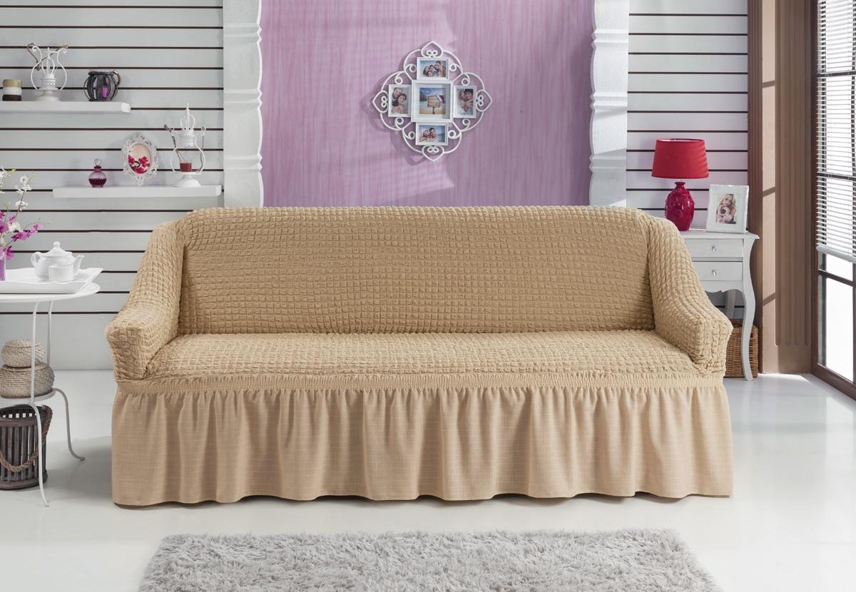 Чехол для дивана Karna Bulsan, трехместный, цвет: бежевыйTHN132NУниверсальный чехол для трехместного дивана Karna Bulsan изготовлен из высококачественного материала на основе полиэстера и хлопка. Чехол оснащен фиксаторами, которые позволяют надежно закрепить его на мебели. Фиксаторы вставляются в расстояние между спинкой и сиденьем, фиксируя чехол в одном положении, и не позволяя ему съезжать и терять форму. Фиксаторы особенно необходимы в том случае, если у вас кожаная мебель или мебель нестандартных габаритов. Характеристики: Плотность: 360 гр/м2.Ширина посадочных мест: 210-260 см.Глубина посадочных мест: 70-80 см.Высота спинки от посадочного места: 70-80 см.Ширина подлокотников: 25-35 см.Высота юбки: 35 см.