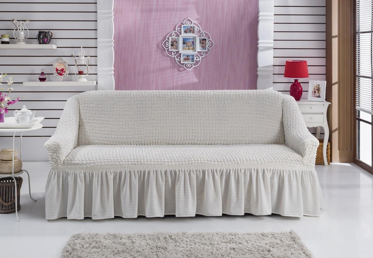 Чехол для дивана Karna Bulsan, трехместный, цвет: кремовый1796/CHAR009Универсальный чехол для трехместного дивана Karna Bulsan изготовлен из высококачественного материала на основе полиэстера и хлопка. Чехол оснащен фиксаторами, которые позволяют надежно закрепить его на мебели. Фиксаторы вставляются в расстояние между спинкой и сиденьем, фиксируя чехол в одном положении, и не позволяя ему съезжать и терять форму. Фиксаторы особенно необходимы в том случае, если у вас кожаная мебель или мебель нестандартных габаритов. Характеристики: Плотность: 360 гр/м2.Ширина посадочных мест: 210-260 см.Глубина посадочных мест: 70-80 см.Высота спинки от посадочного места: 70-80 см.Ширина подлокотников: 25-35 см.Высота юбки: 35 см.