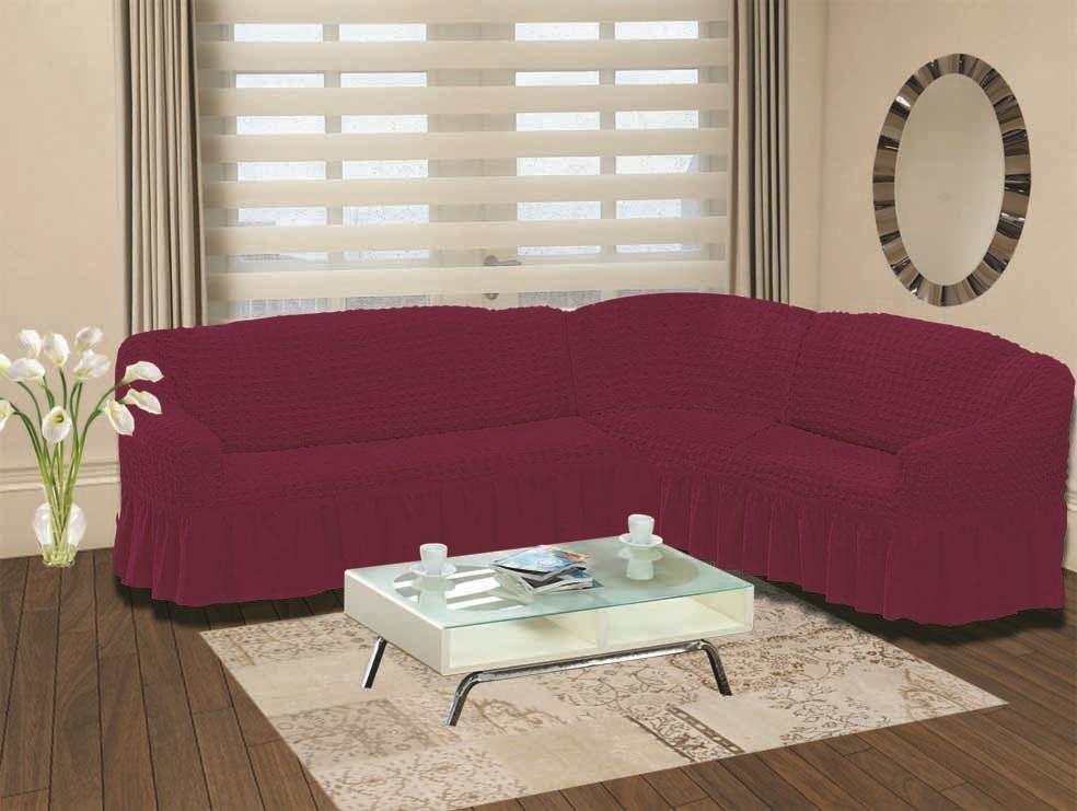 Чехол для дивана Burumcuk Bulsan, угловой, правосторонний, пятиместный, цвет: вишневый1798/CHAR013Чехол для дивана Burumcuk выполнен из высококачественного полиэстера и хлопка с красивым рельефом. Предназначен для углового дивана. Такой чехол изысканно дополнит интерьер вашего дома. Ширина посадочных мест короткой стороны: 140-190 см.Ширина посадочных мест длинной стороны: 210-260 см. Глубина посадочных мест: 70-80 см. Высота спинки от посадочного места: 70-80 см. Ширина подлокотников: 25-35 см. Высота юбки: 35 см. Тянется: + 30 см.