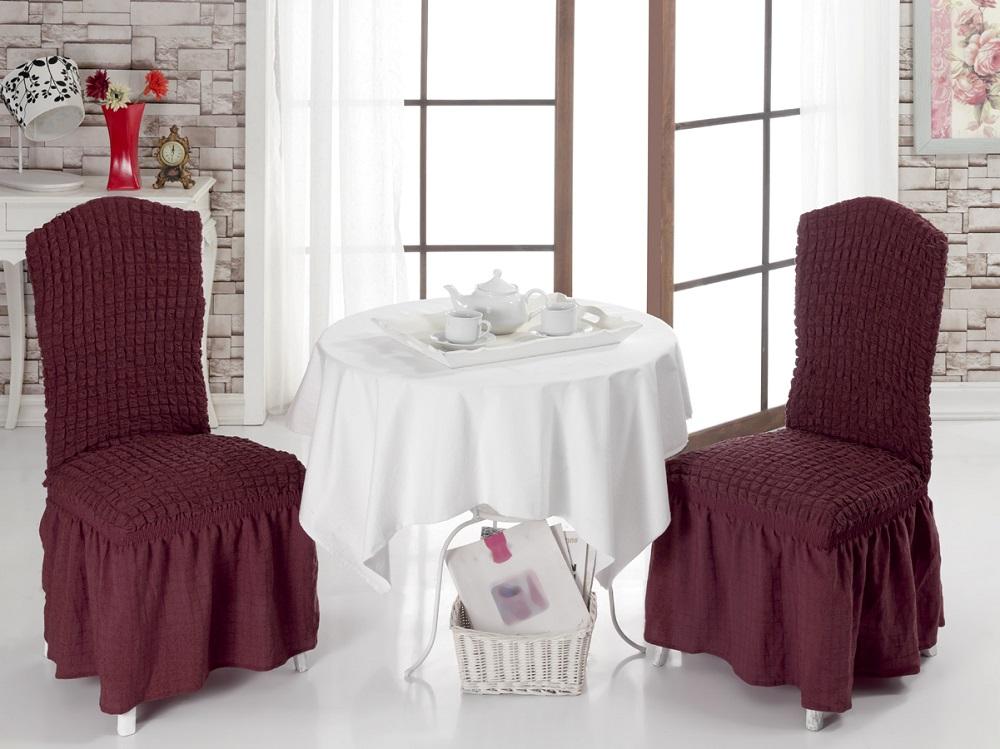 Набор чехлов для стульев Burumcuk, цвет: темно-бордовый, 2 штTHN132NЧехол на стул Burumcuk выполнен из высококачественного полиэстера и хлопка с красивым рельефом. Закрепляется на стул при помощи резинки и веревок. Предназначен для классического стула со спинкой. Такой чехол изысканно дополнит интерьер вашего дома. Ширина посадочных мест: 35 см. Длина посадочных мест: 35 см. Высота спинки от посадочного места: 50 см. Ширина спинки: 35 см.Высота юбки: 35 см.