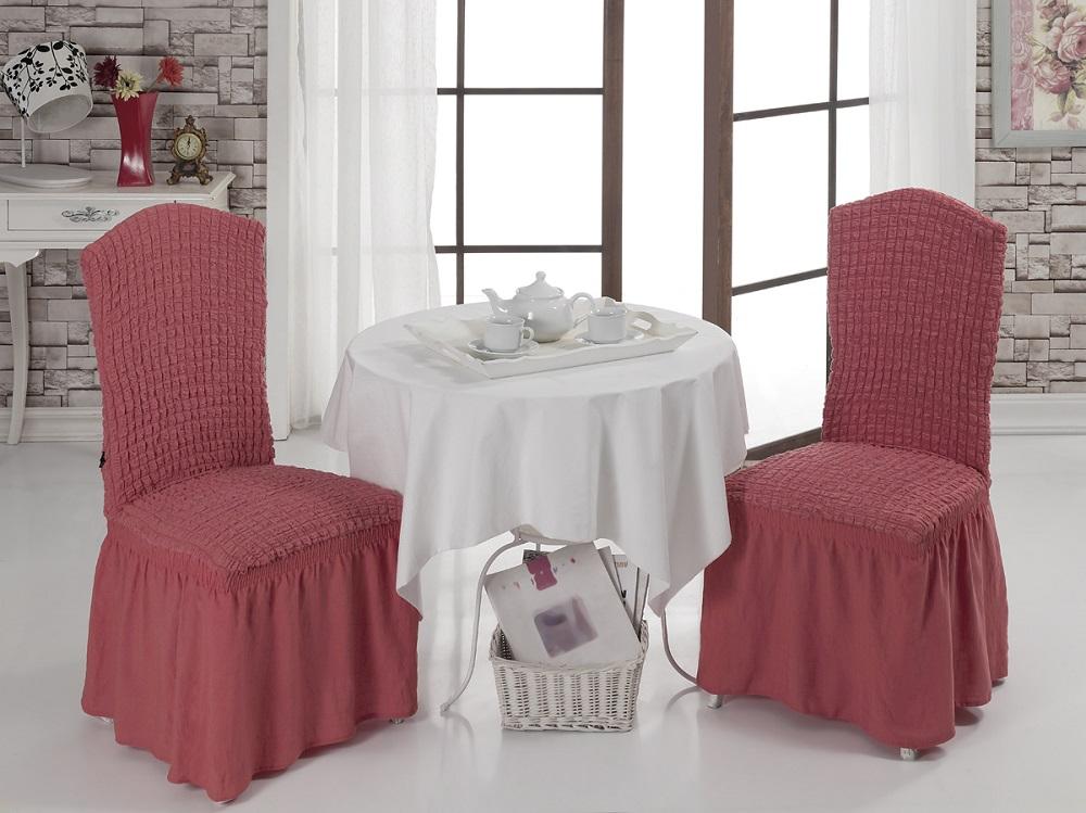 Набор чехлов для стульев Karna Bulsan, 2 шт, цвет: кирпичный1906/CHAR006Набор Karna Bulsan состоит из двух универсальных чехлов для стульев, изготовленных из высококачественного материала на основе полиэстера и хлопка и дополненных широкой юбкой, скрывающей низ мебели. Изделия оснащены фиксаторами, которые позволяют надежно закрепить чехол на мебели. Фиксаторы вставляются в расстояние между спинкой и сиденьем, фиксируя чехол в одном положении, и не позволяя ему съезжать и терять форму. Фиксаторы особенно необходимы в том случае, если у вас кожаная мебель или мебель нестандартных габаритов. Характеристики:Плотность: 360 гр/м2. Ширина и длина посадочного места: 35+30 см.Высота спинки от посадочного места: 50+30 см.Ширина спинки: 35+30 см.Высота юбки: 35 см.