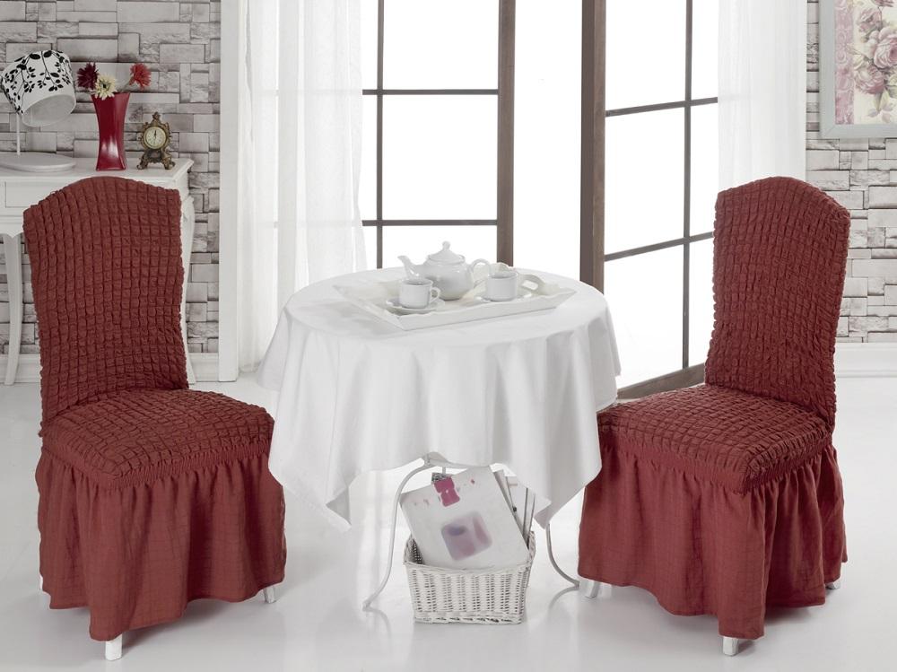 """Набор чехлов для стульев """"Burumcuk"""", цвет: кирпичный, 2 шт"""