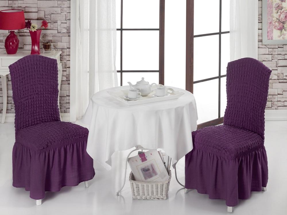 Набор чехлов для стульев Burumcuk, цвет: фиолетовый, 2 шт300148_розовыйЧехол на стул Burumcuk выполнен из высококачественного полиэстера и хлопка с красивым рельефом. Закрепляется на стул при помощи резинки и веревок. Предназначен для классического стула со спинкой. Такой чехол изысканно дополнит интерьер вашего дома. Ширина посадочных мест: 35 см. Длина посадочных мест: 35 см. Высота спинки от посадочного места: 50 см. Ширина спинки: 35 см.Высота юбки: 35 см.