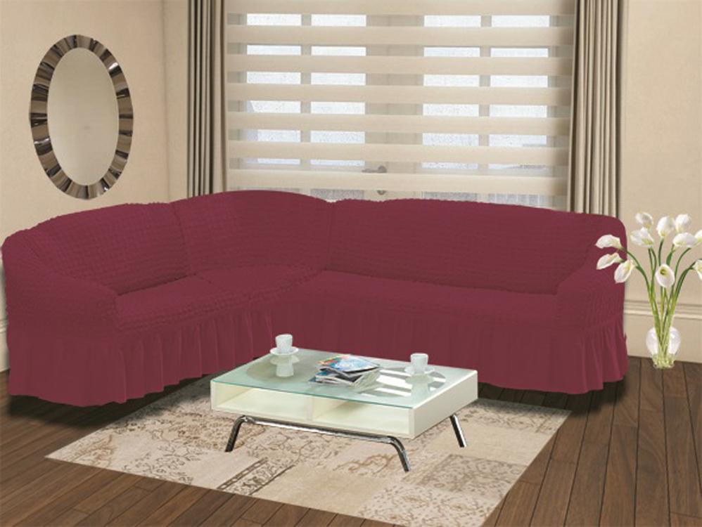 Чехол для дивана Burumcuk Bulsan, угловой, левосторонний, пятиместный, цвет: бордовый1907/CHAR005Чехол для дивана Burumcuk выполнен из высококачественного полиэстера и хлопка с красивым рельефом. Предназначен для углового дивана. Такой чехол изысканно дополнит интерьер вашего дома. Ширина посадочных мест короткой стороны: 140-190 см.Ширина посадочных мест длинной стороны: 210-260 см. Глубина посадочных мест: 70-80 см. Высота спинки от посадочного места: 70-80 см. Ширина подлокотников: 25-35 см. Высота юбки: 35 см. Тянется: + 30 см.